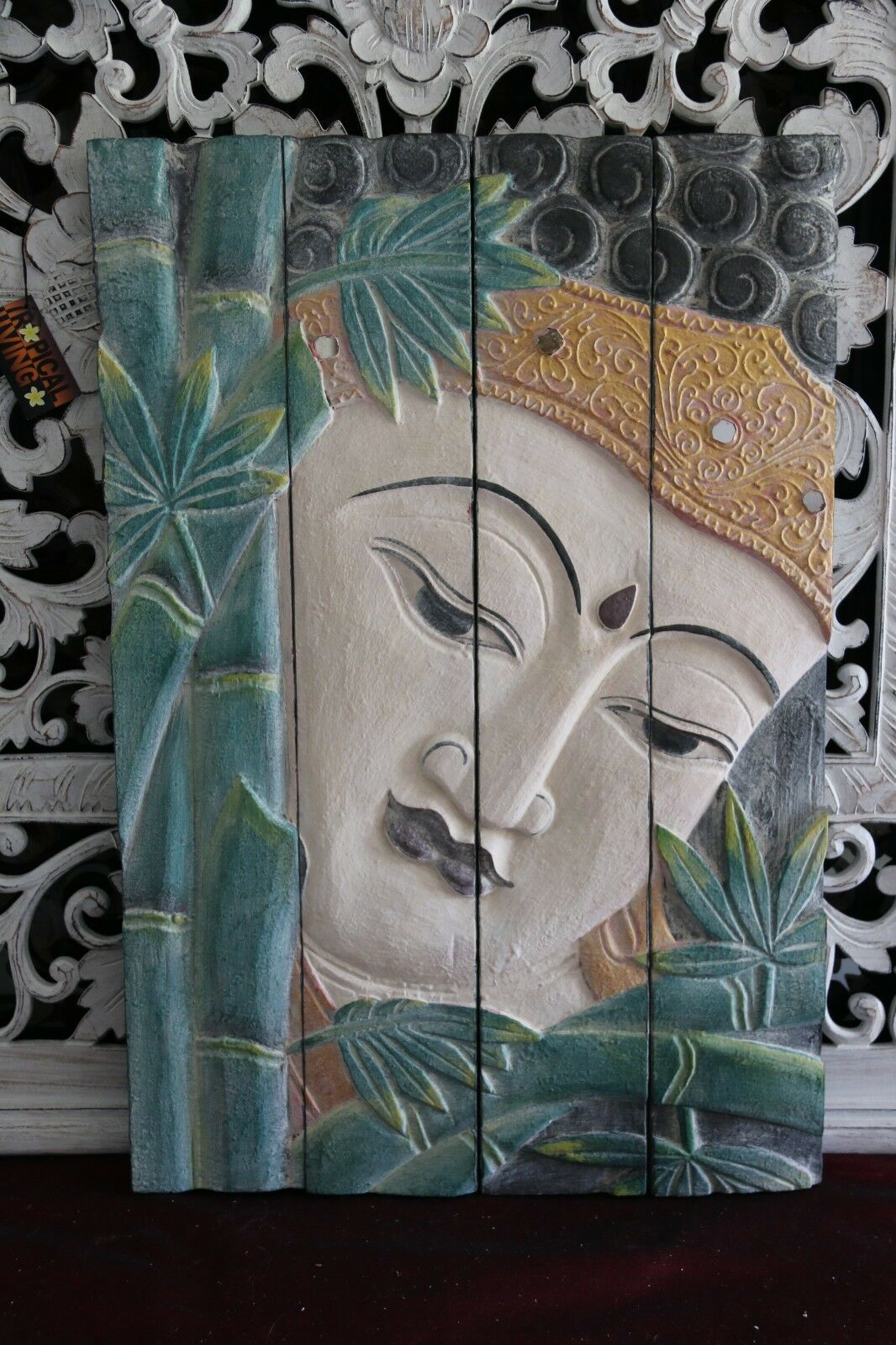 Balinese Hand Carved Wood Hinged Buddha Wall Panel - Bali Buddha Wall Panel 60cm