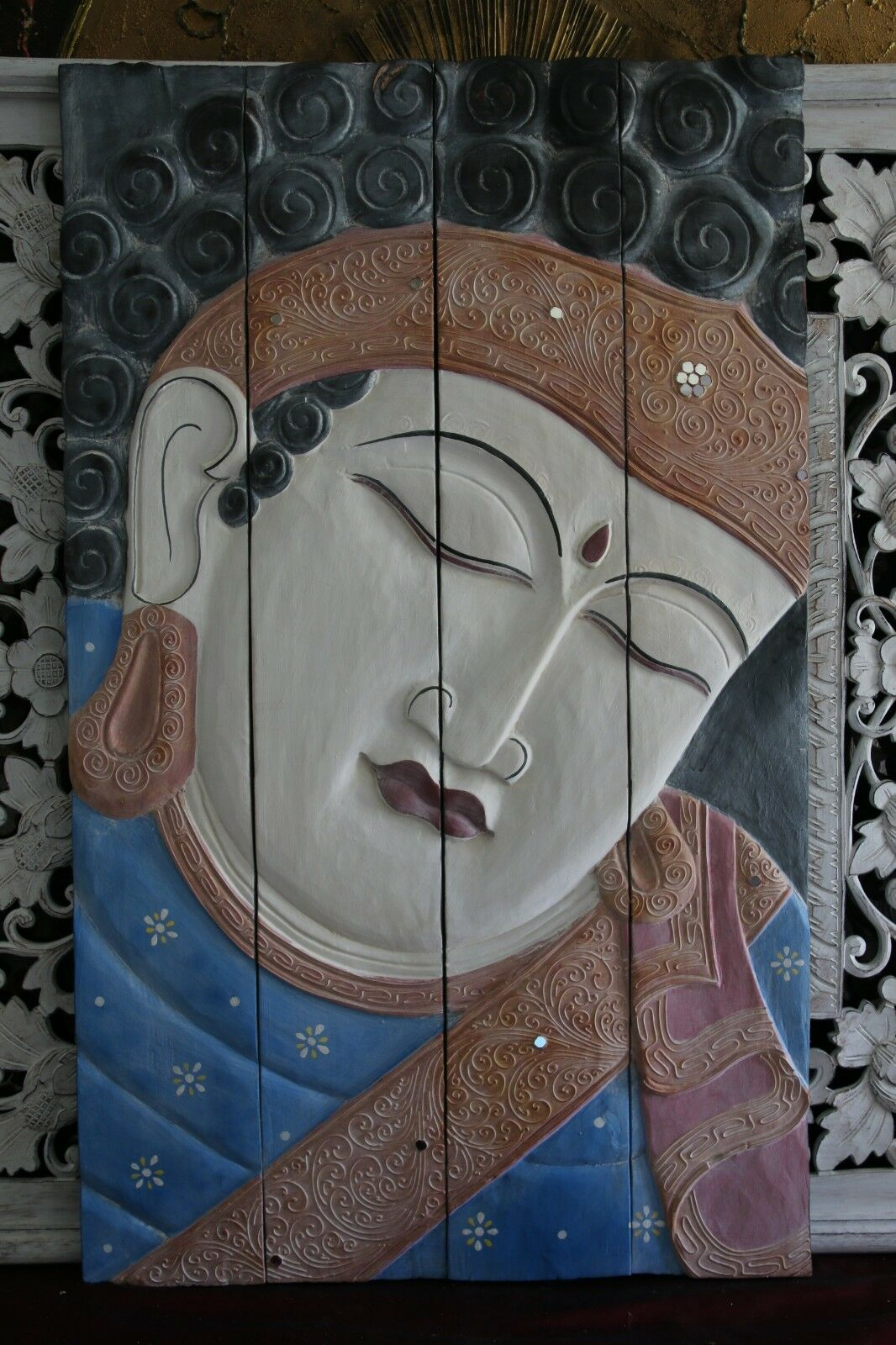 Balinese Hand Carved Wood Hinged Buddha Wall Panel - Bali Buddha Wall Panel 1m