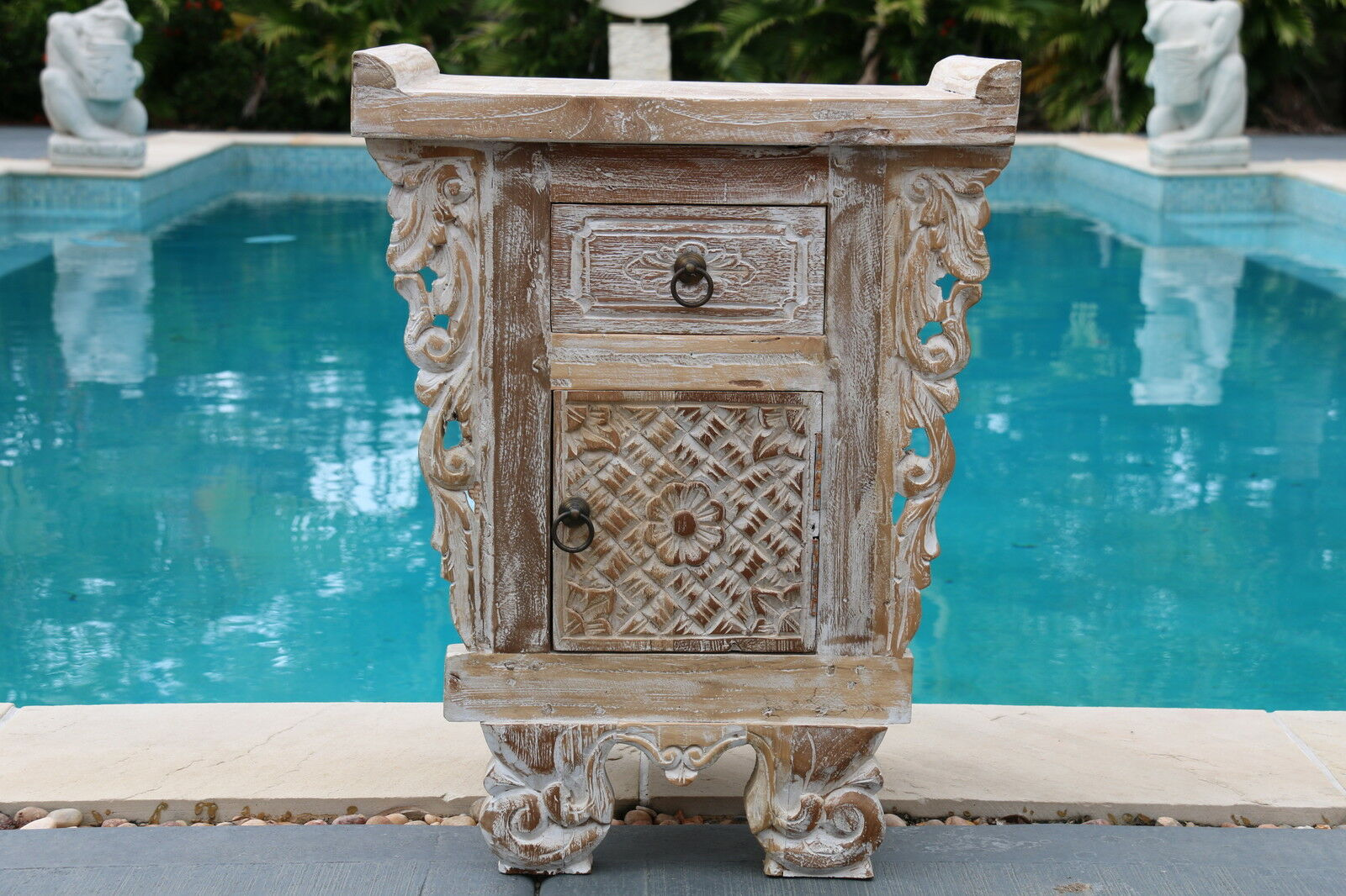 NEW Beautifully Hand Carved TEAK Wood Balinese Bedside Table - Bali Side Table