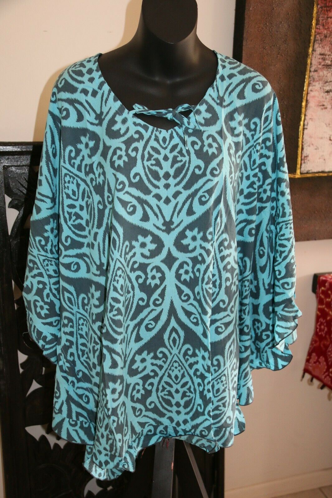 Balinese Short Kaftan - Short Dress / Long Top - MANY COLOURS AVAIL - One Size