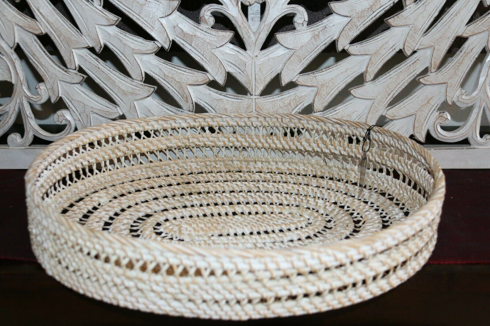 NEW Balinese Hand Woven White Washed Rattan Open Basket - 3 sizes available.