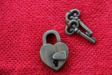 New BRASS Plain Antique Style Padlock + 2 Decorative Key - Furniture Accessories