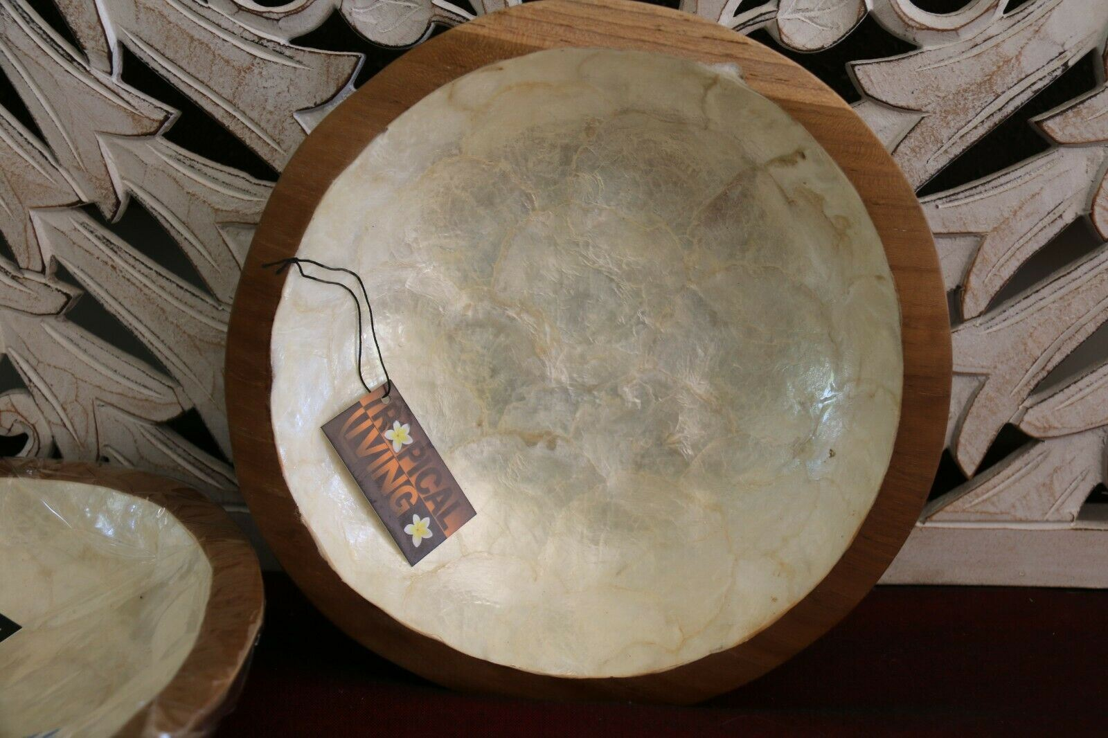 NEW Balinese Hand Crafted TEAK with Shell Trim Bowl - Bali Teak Feature Bowl