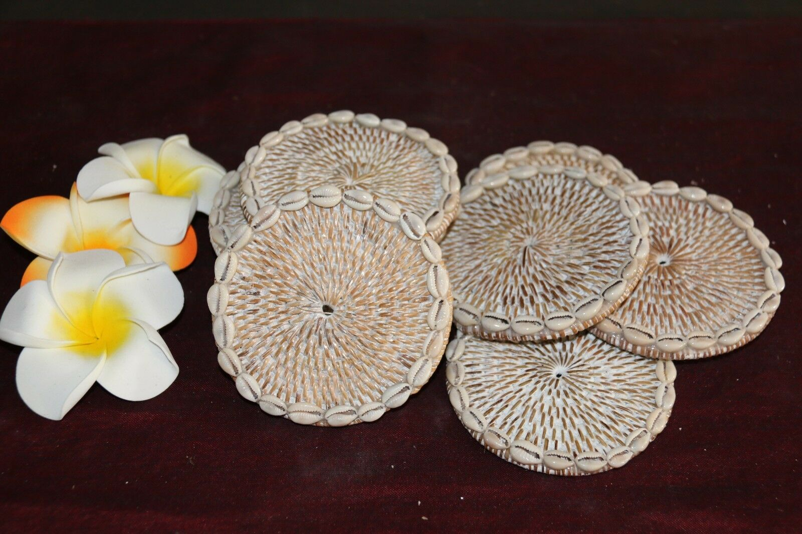 NEW Bali Woven Rattan Coasters w/Shell Trim - Balinese Coasters w/Shells 1 Pce