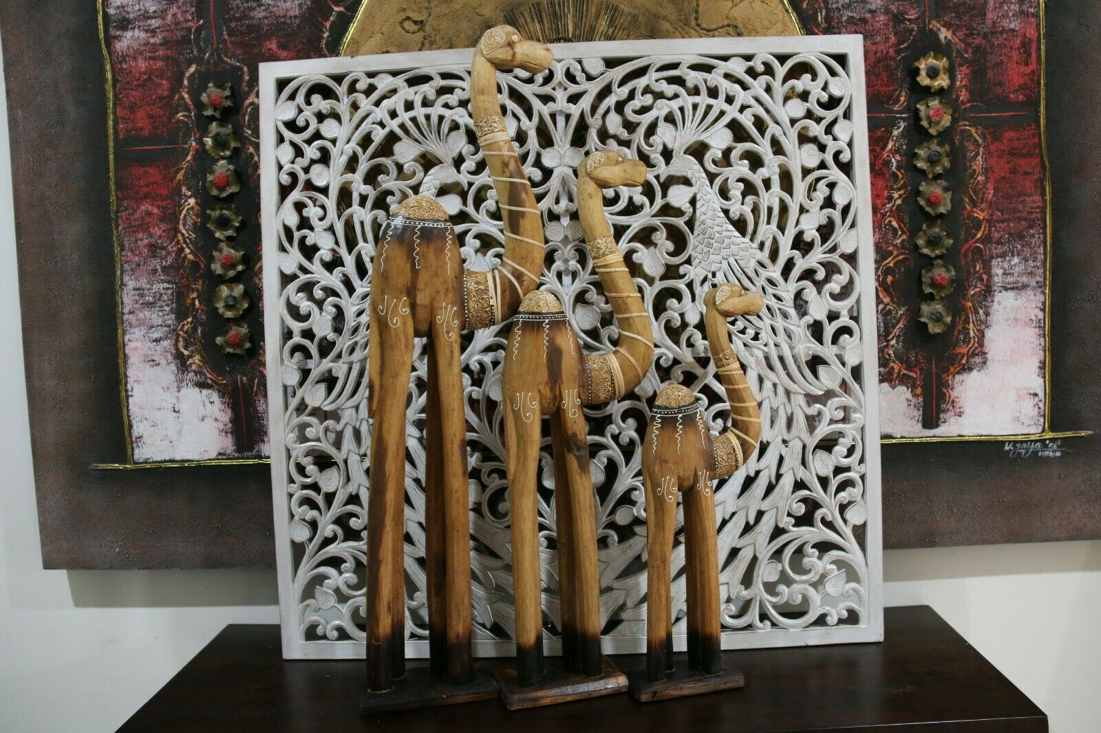 NEW Balinese Hand Carved Set 3 Camels - Wood Carved Bali African Animals