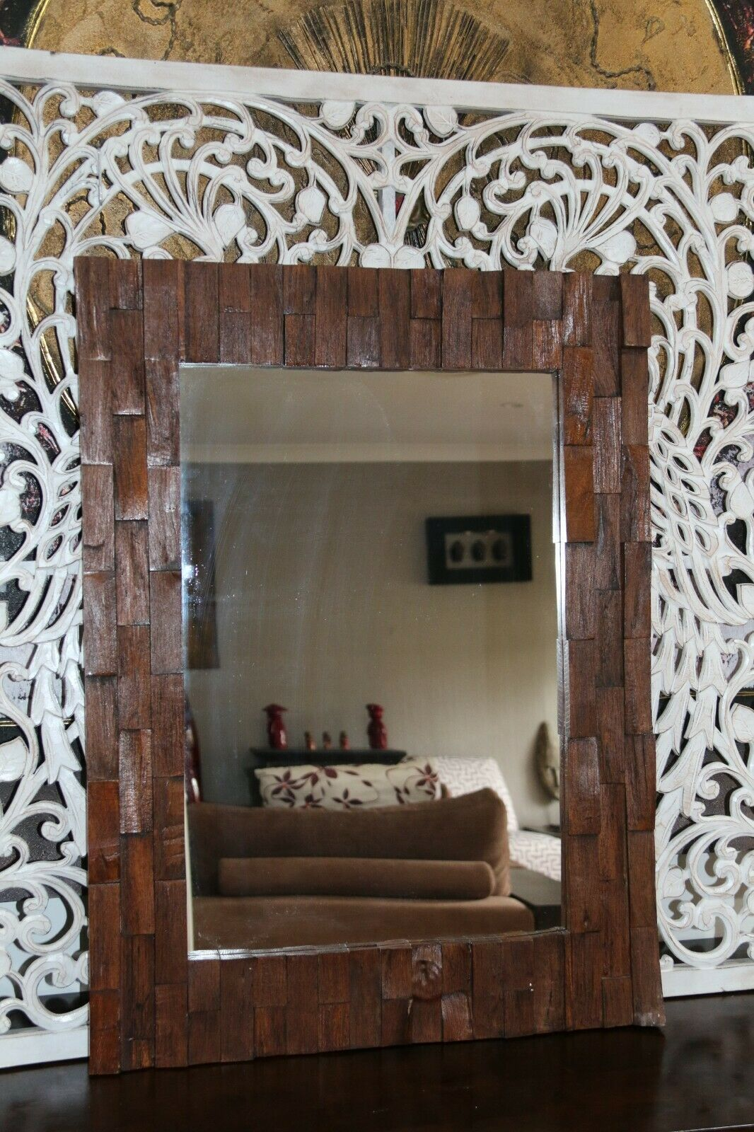 BRAND NEW Hand Carved Balinese Feature Mirror - Bali Carved Mirror