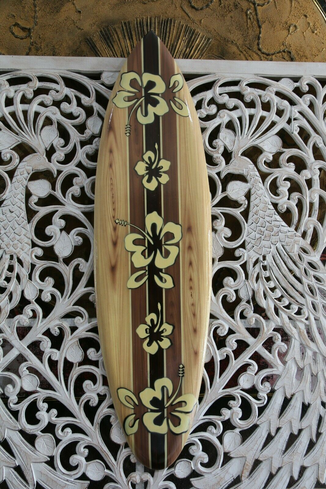 NEW Bali Handmade Woodie Surfboard Wall Decor 80cm - Bali Surfboard Wall Art