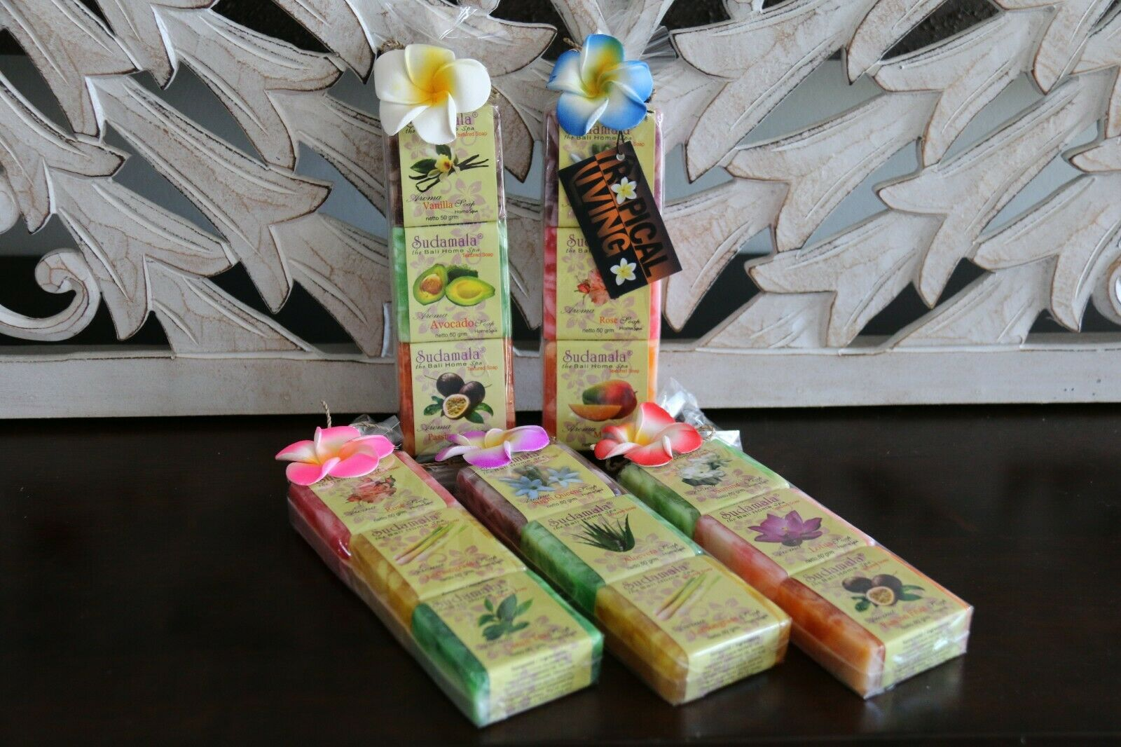 Balinese Hand Made Guest Soap (pack 3) - Bali Fruit & Spice Soap - Asst Fragranc