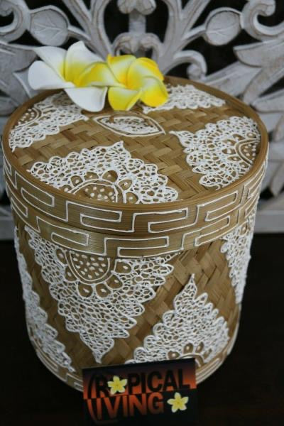 NEW Balinese Hand Woven Natural Bamboo Basket with Lid - Mandala Design - 3 size