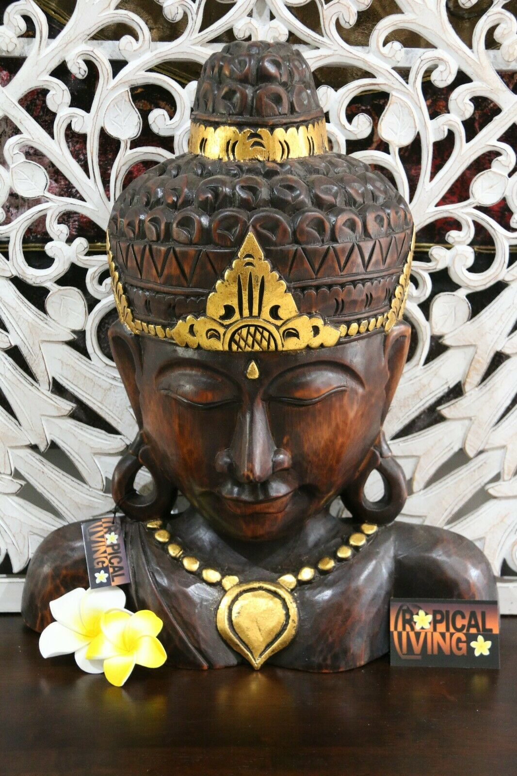 Balinese Hand Carved Wooden Buddha Sculpture - Wooden Bali Buddha Hand Carved