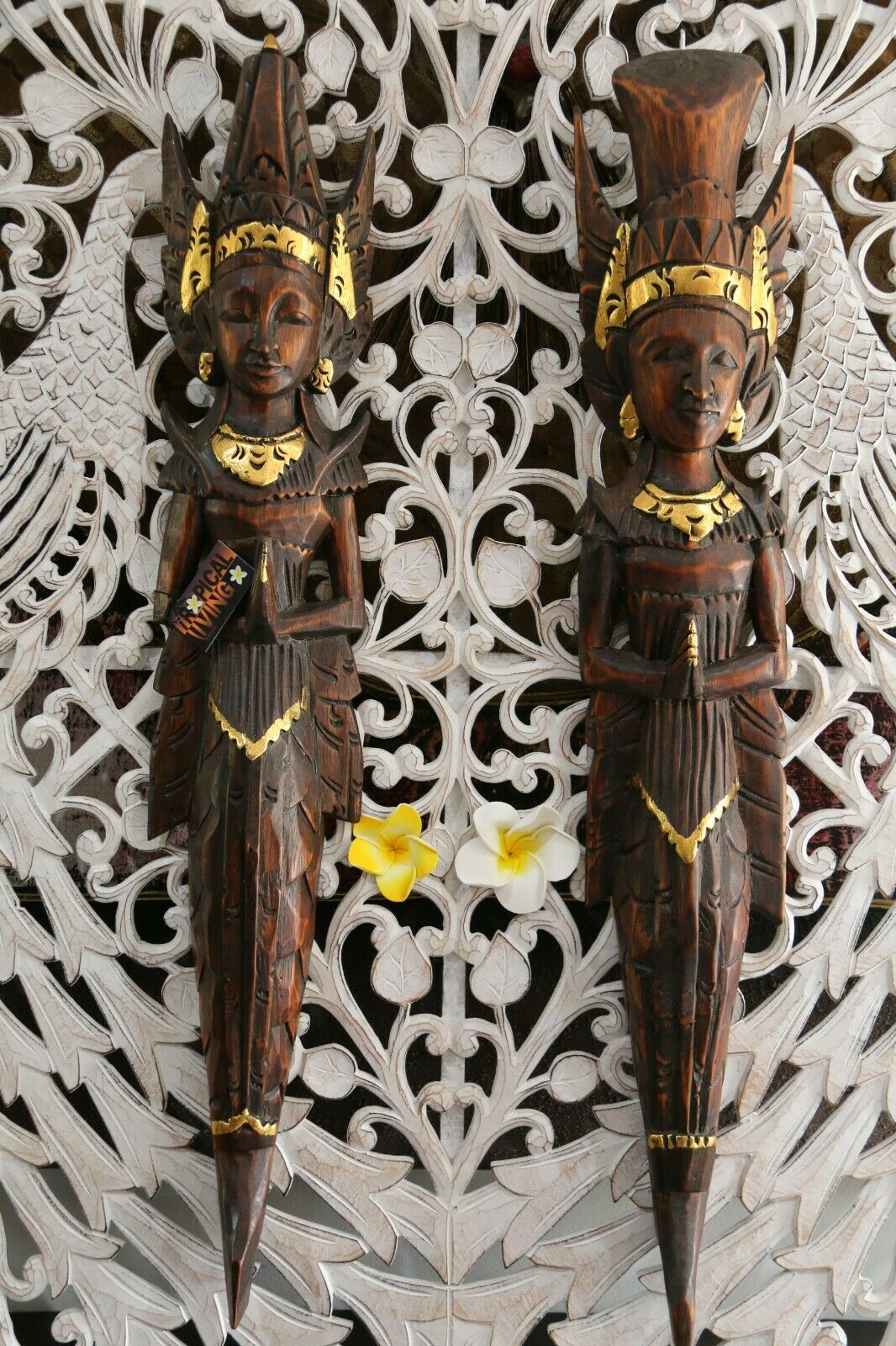NEW Balinese Hindu Rama & Shinta Wood Carved Wall Sculptures - BALI Wall Art