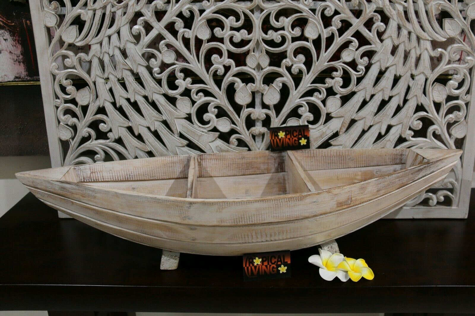NEW Balinese Hand Crafted Wooden Row Boat Decor - Divided Row Boat Bowl/Pot