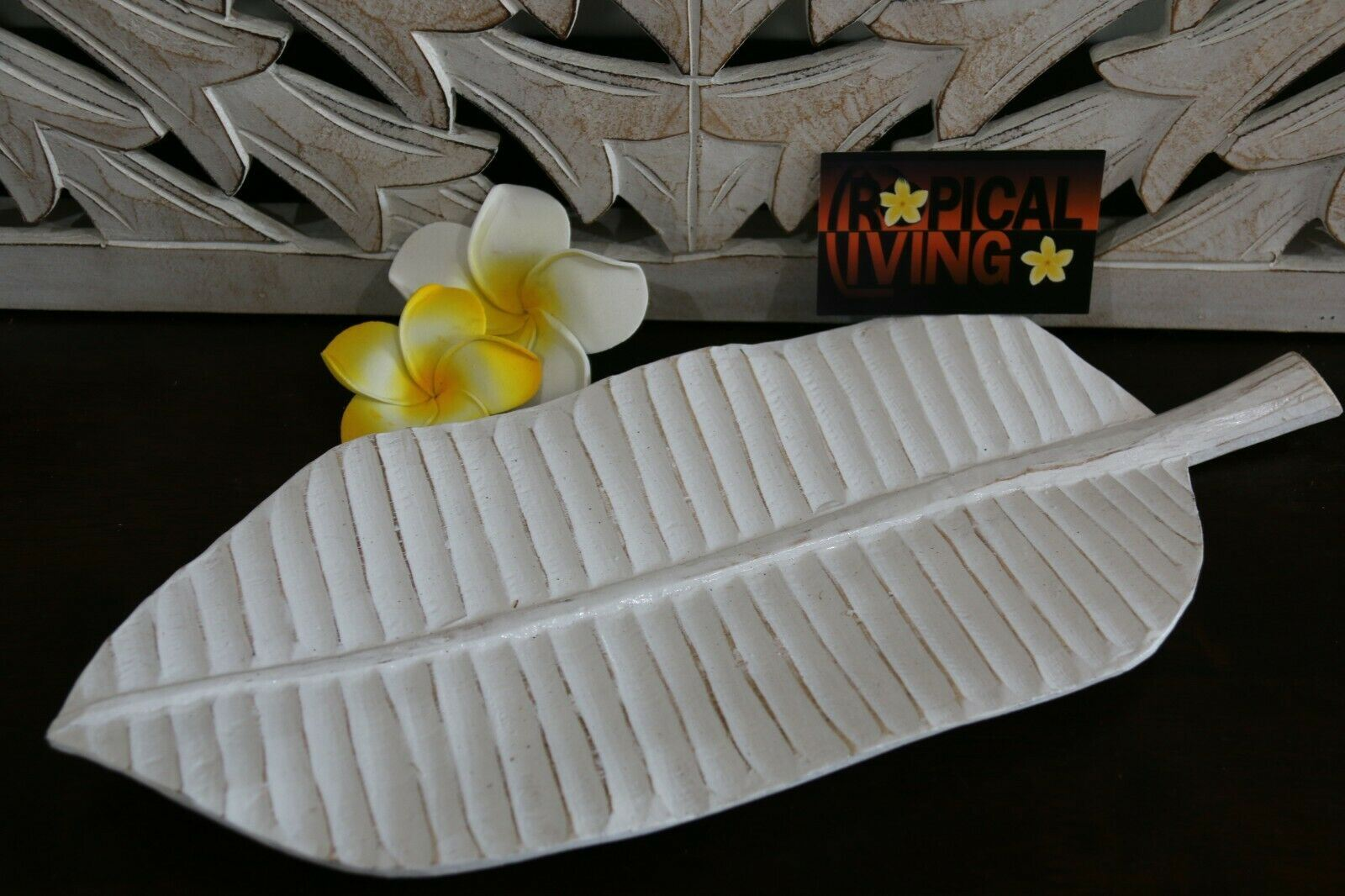 NEW Balinese Hand Carved Wooden Banana Leaf Platter - 3 sizes available.