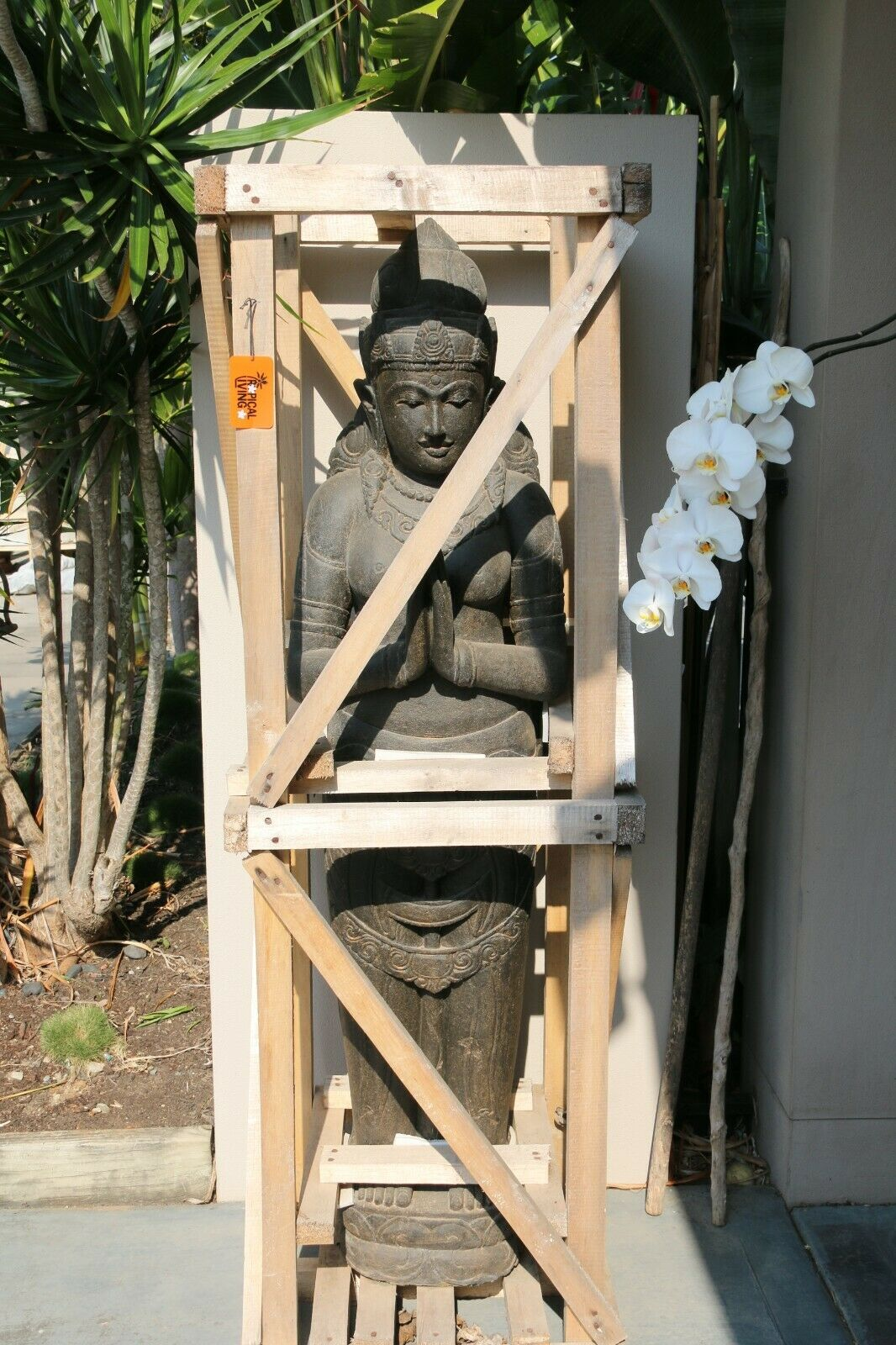 NEW Hand Carved Balinese Polished Greenstone Dewi Sri Statue - Bali Garden Art