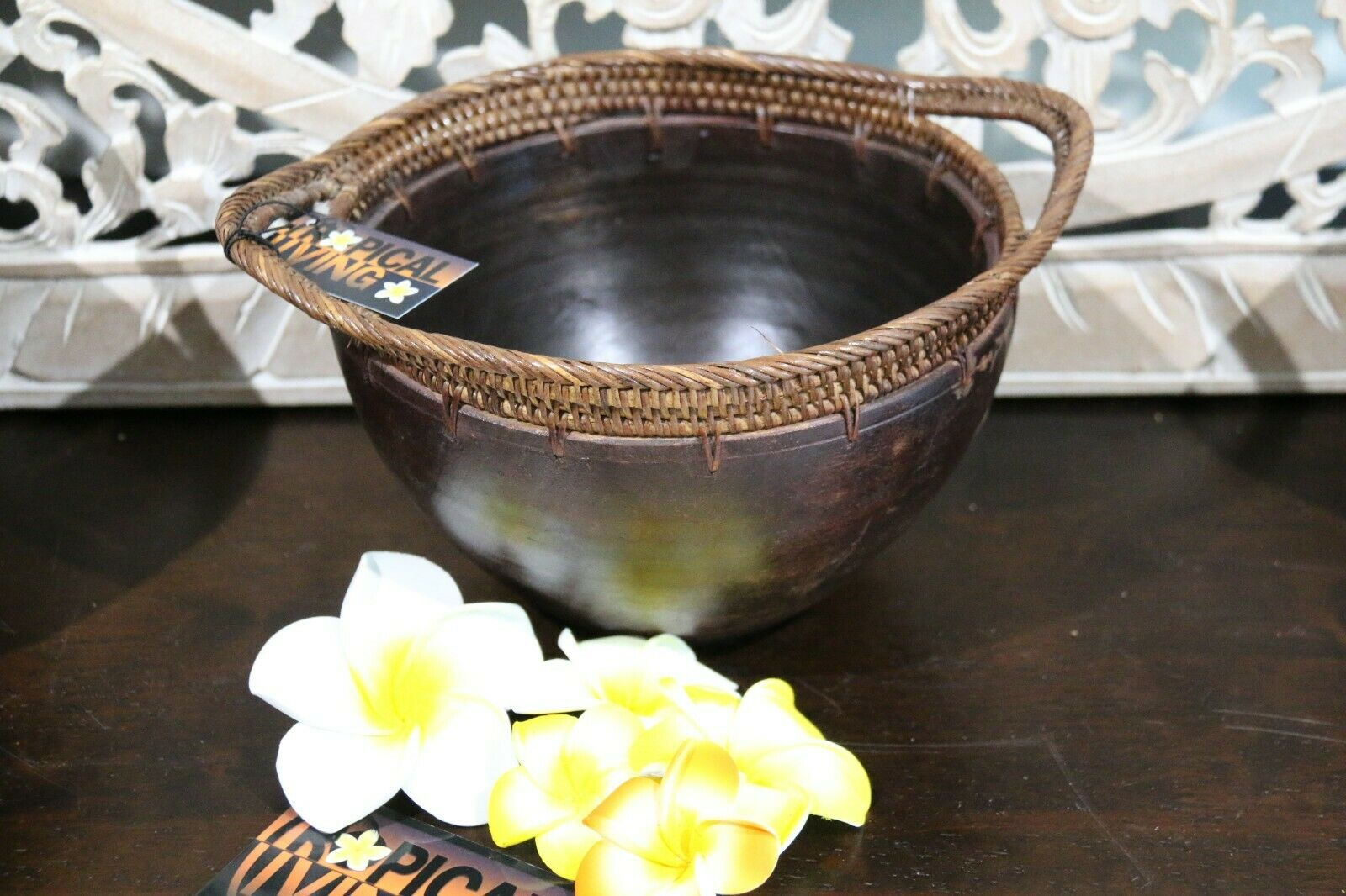 NEW Bali Wood / Rattan Trim Bowl - Balinese Wood/Rattan Combo Bowl BEAUTIFUL!!
