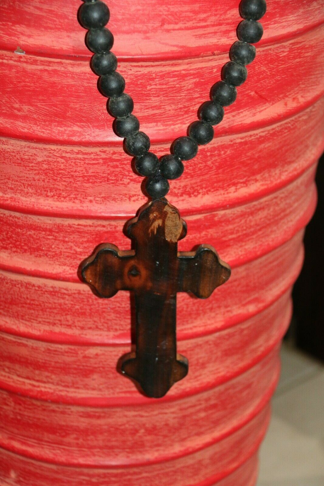 NEW Hand Crafted Balinese Wood Cross Necklace - Wood Bead / Cross Tassel