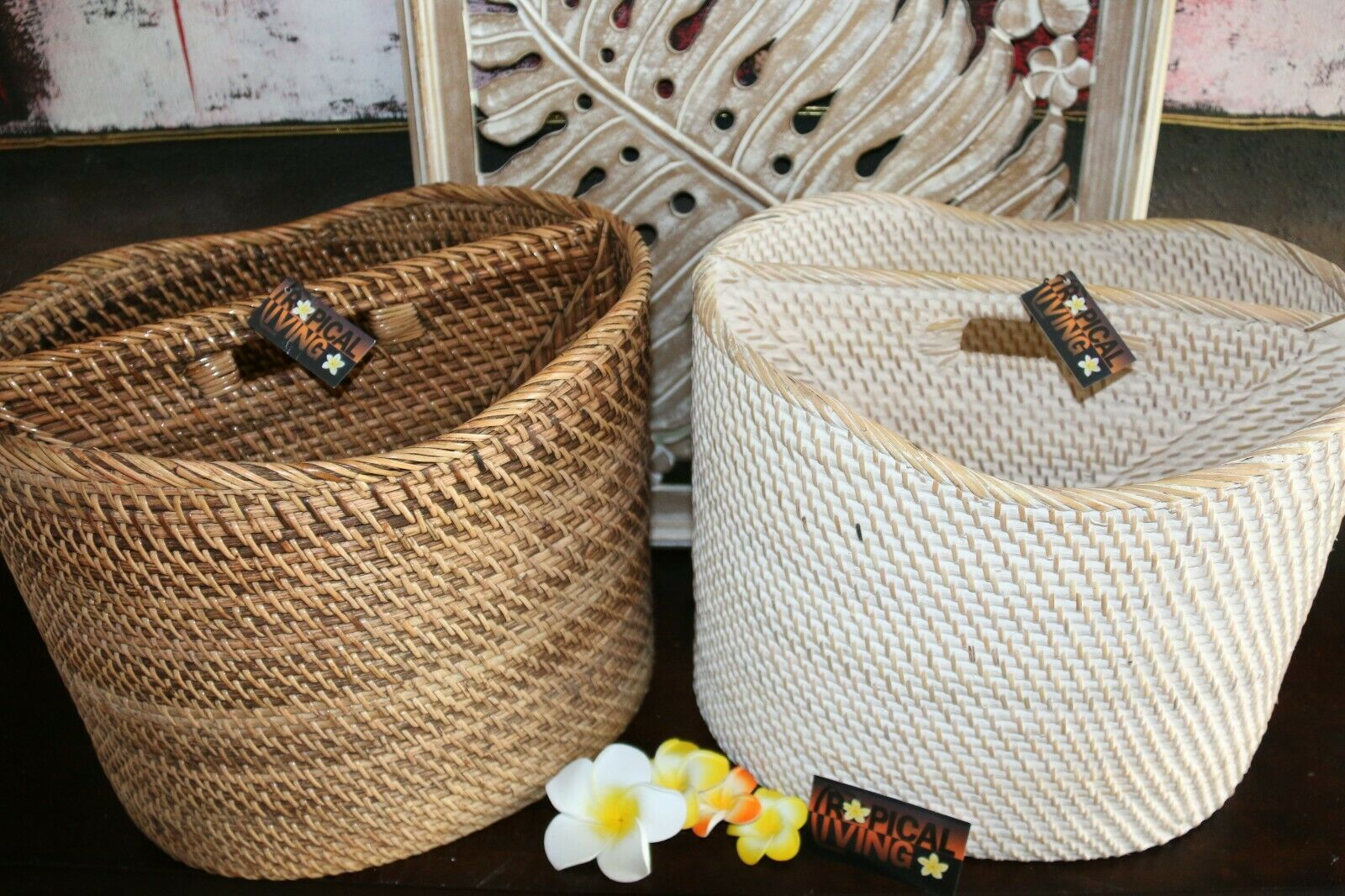 NEW Balinese Hand Crafted Rattan Open Basket / Magazine Holder - 2 Colours Avail