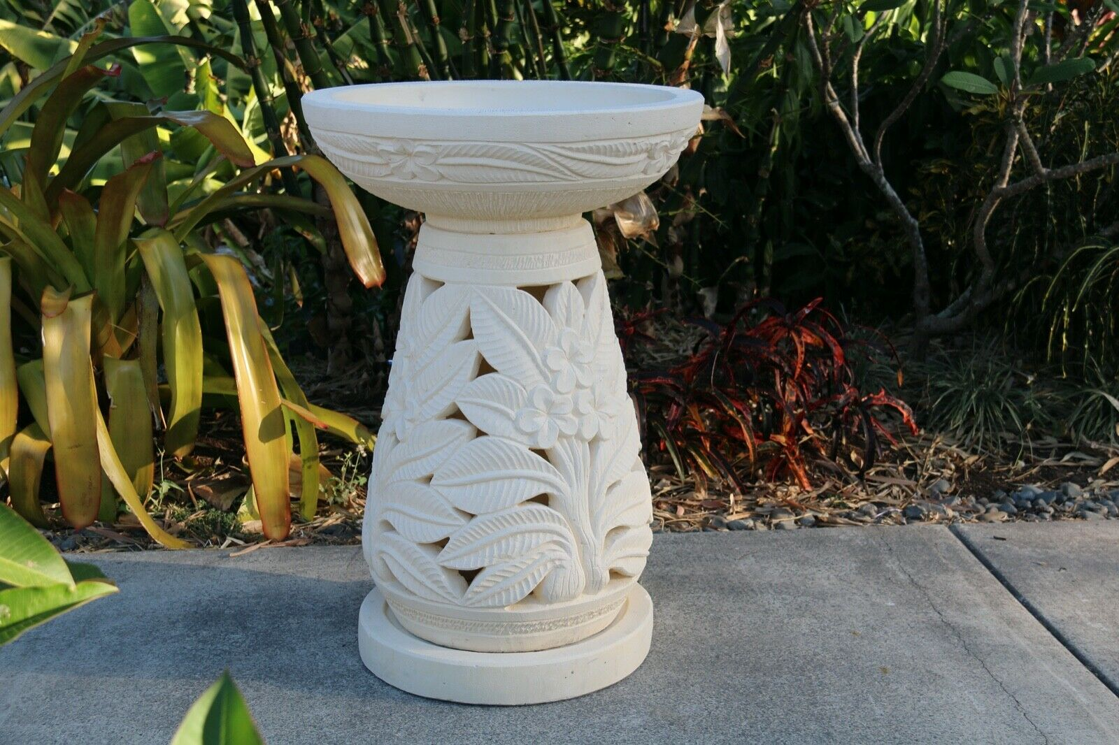 NEW Balinese Frangipani Hand Crafted Bird Bath - Bali Garden Art  Bali Bird Bath