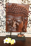 Balinese Hand Carved Wooden Buddha Panel on Stand - Wooden Bali Buddha