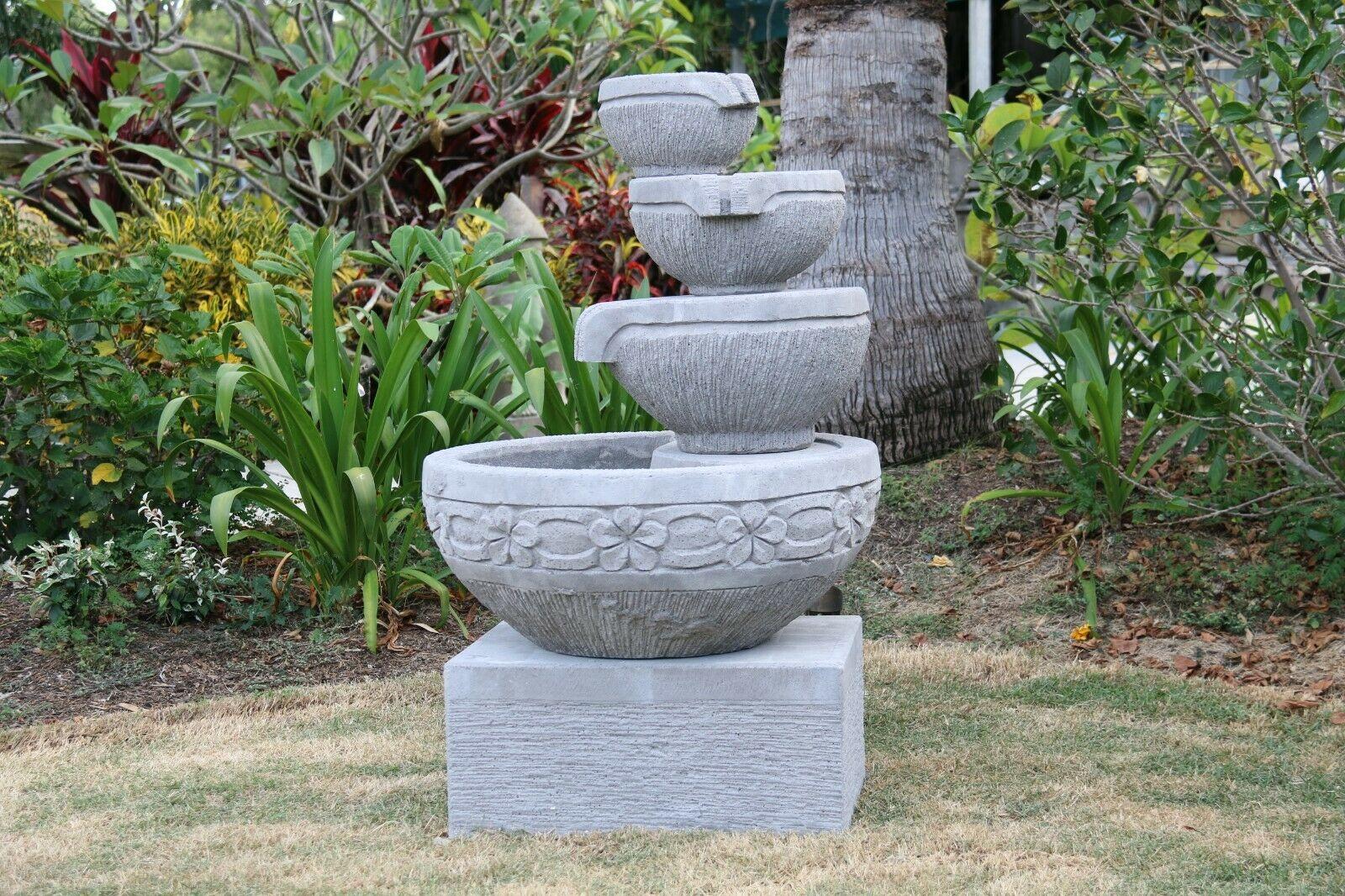 Bali Cascading Frangipani Style Water Feature - Balinese Garden Water Feature