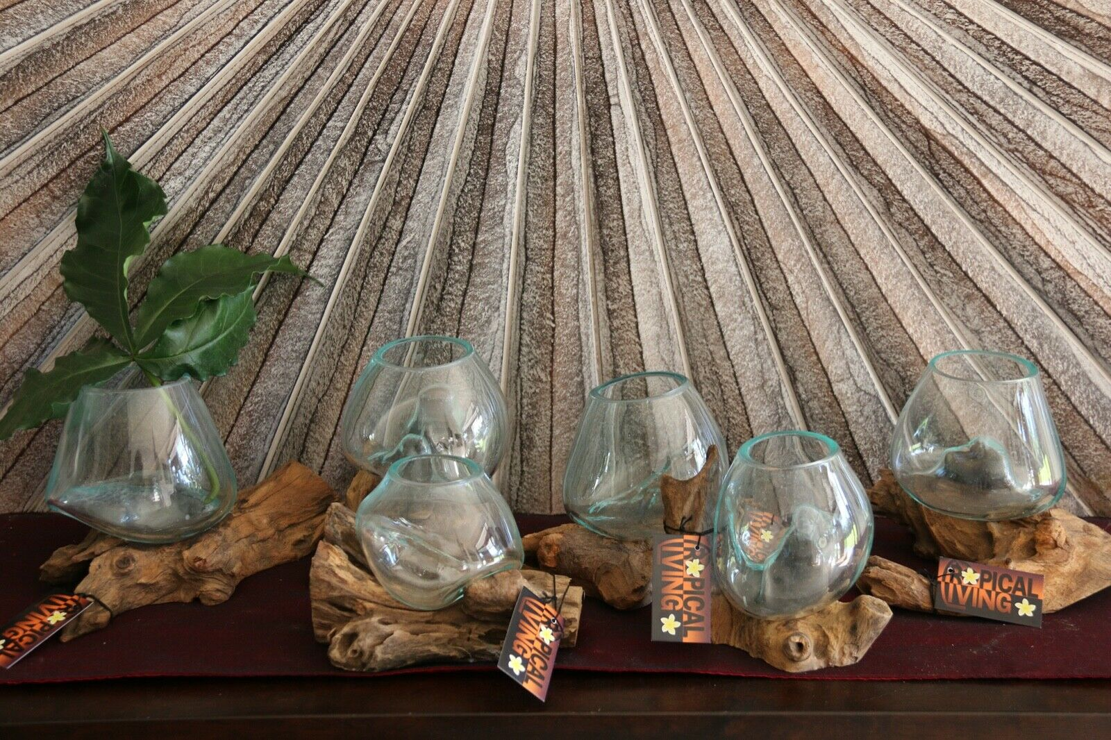 NEW Balinese Hand Blown Glass on Wood Bowl - Bali Glass on Wood Art ALL UNIQUE!!