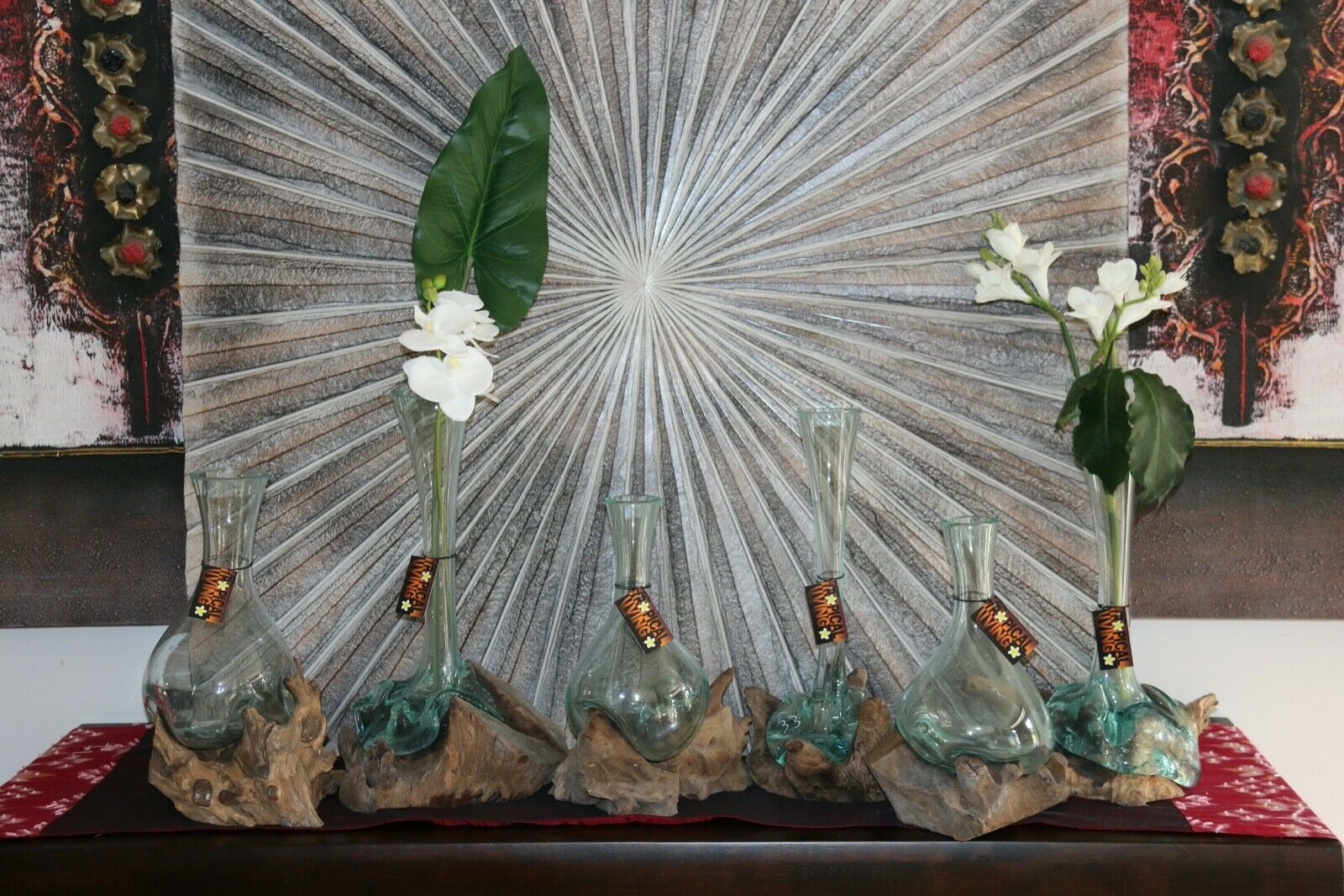 NEW Molten Glass on Wood Vase - Bali Blown Glass on Wood Vase - many styles