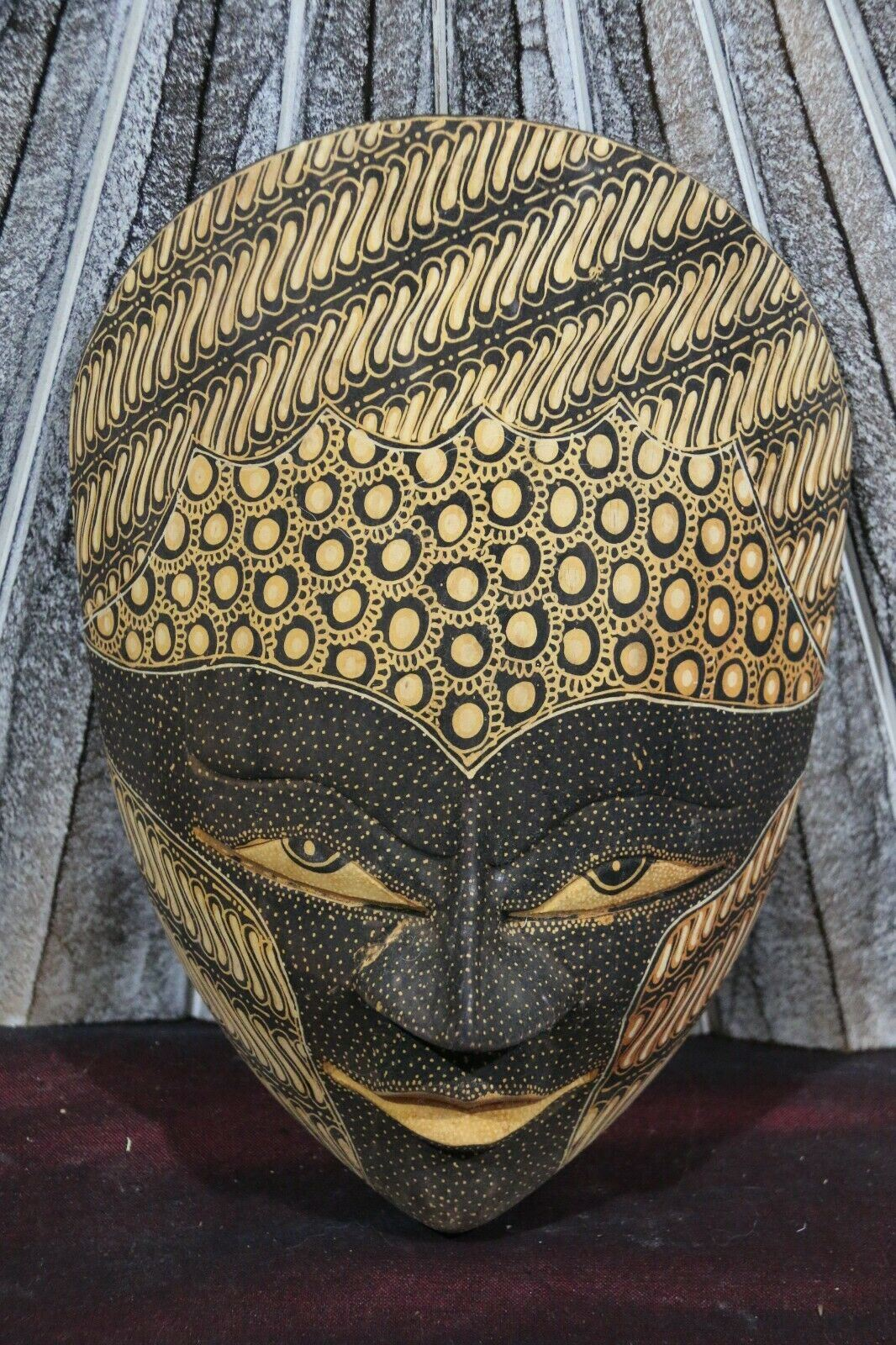 NEW Hand Carved Wooden Wall Hung Batik Style Mask - Bali Batik Mask