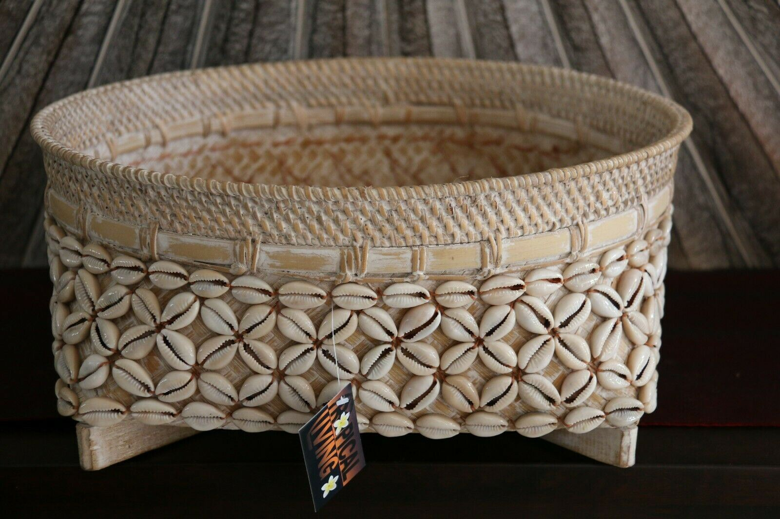NEW Balinese Hand Crafted Woven Open Basket w/Rattan & Shell Trim - 3 Sizes Avai
