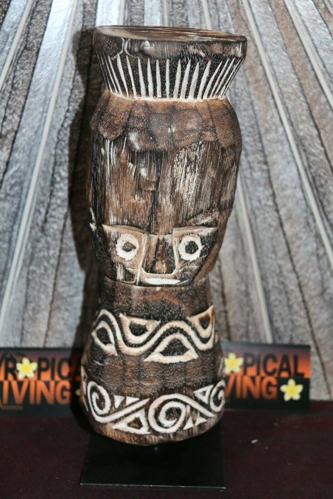 NEW Hand Crafted Timor Statue on Stand - Primitive Wood Carved Statue BOHO Style