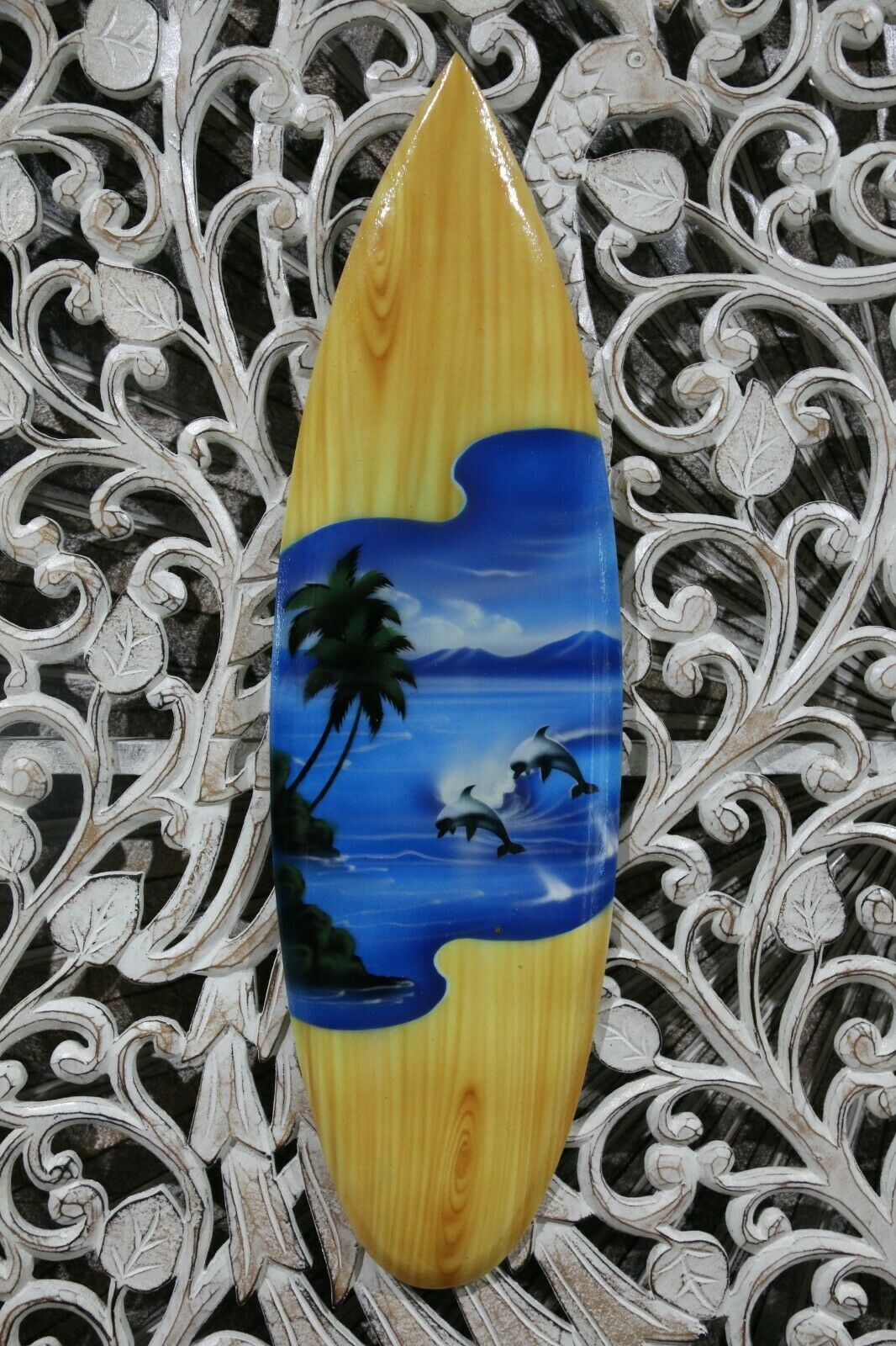 NEW Bali Handmade Air Brushed Surfboard Wall Decor 50cm - Bali Surfboard Sign
