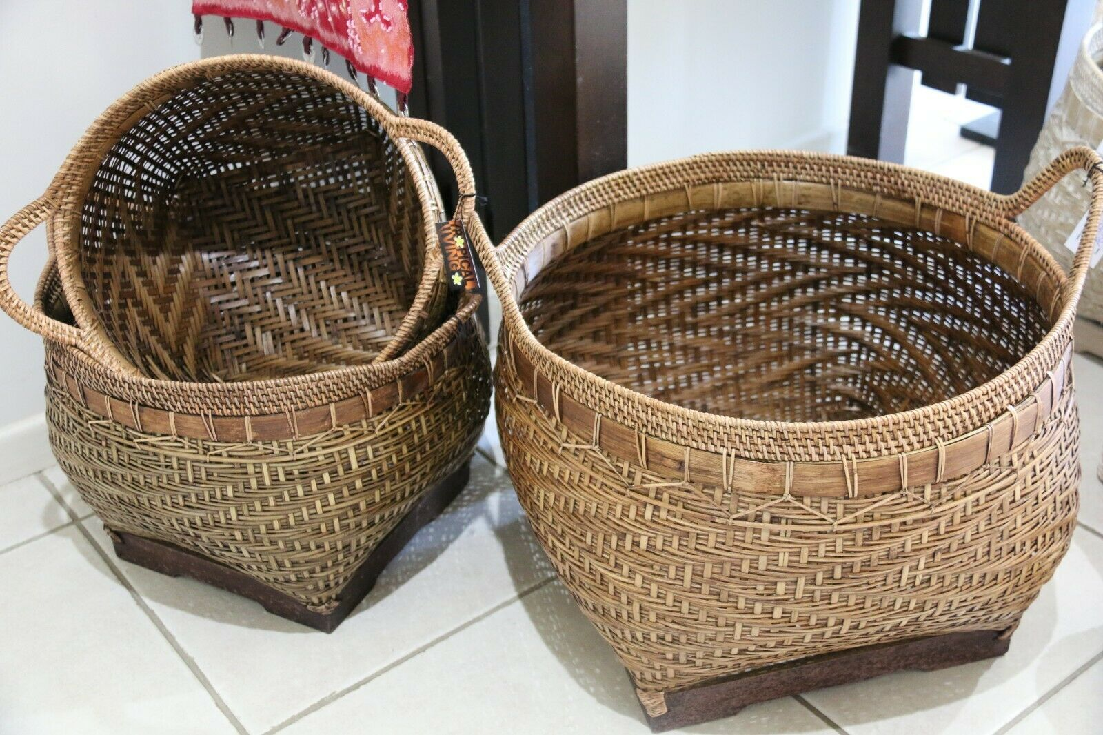 NEW Balinese Hand Woven Bamboo/Rattan Basket w/Handles - 3 sizes available