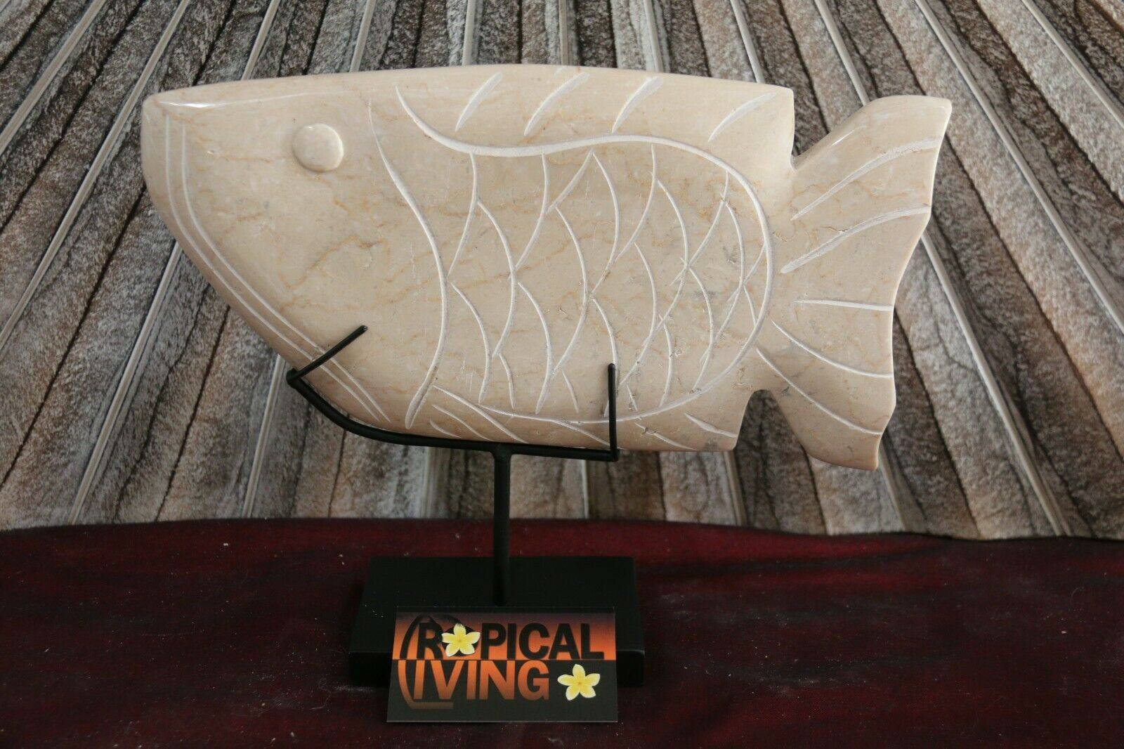 NEW Indonesian Hand Carved Marble Fish Sculpture on Metal Stand - BEAUTIFUL!!