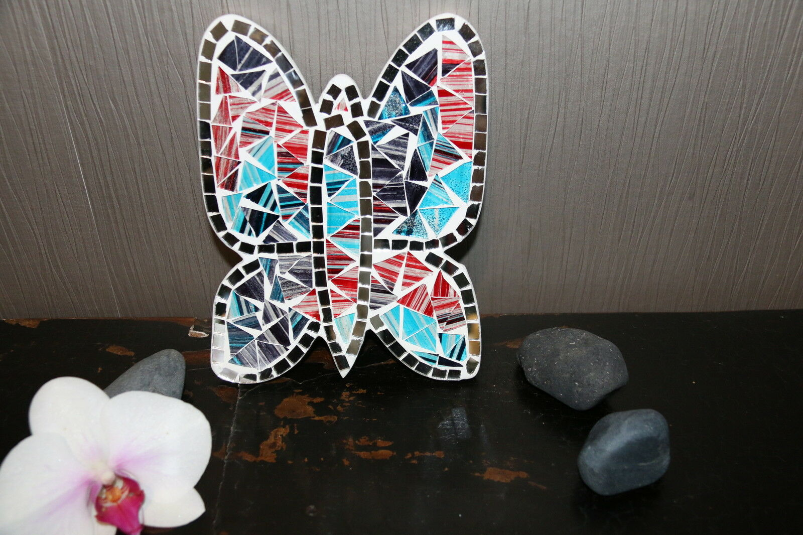 Brand New Balinese Hand Crafted Mosaic Butterflyfly Balinese Wall Art