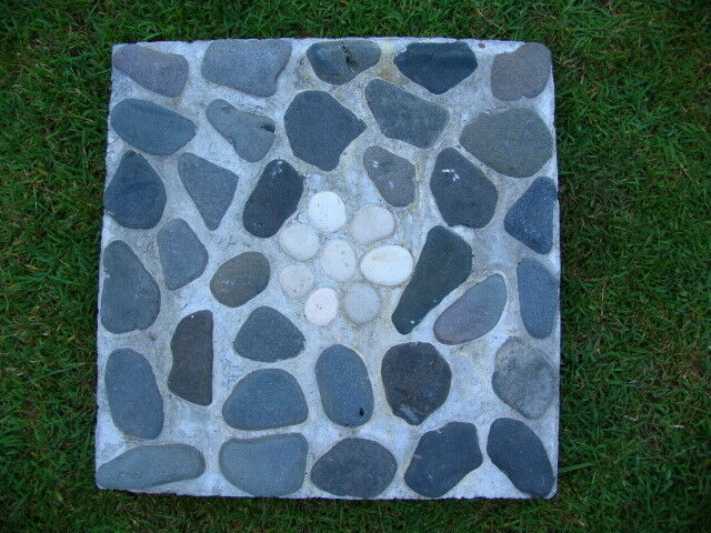 Brand New Balinese Hand Crafted Concrete with Pebble Inlay Stepping Stone