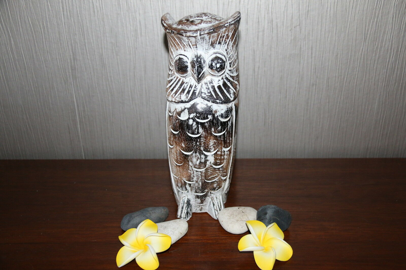 Brand New Bali Hand Carved Wooden Owl on Post - Balinese Wooden Art