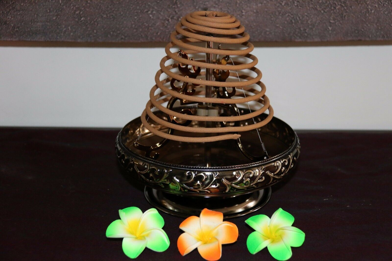 NEW Balinese Ornate Metal Incense Coil Holder - Bali Incense Holder - 2 colours