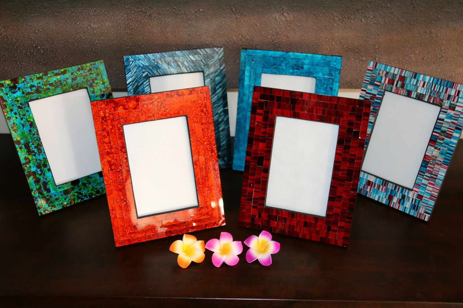 NEW Balinese Mosaic Photo Frame - MANY COLOURS AVAILABLE - Suit 10 x 15cm Photo