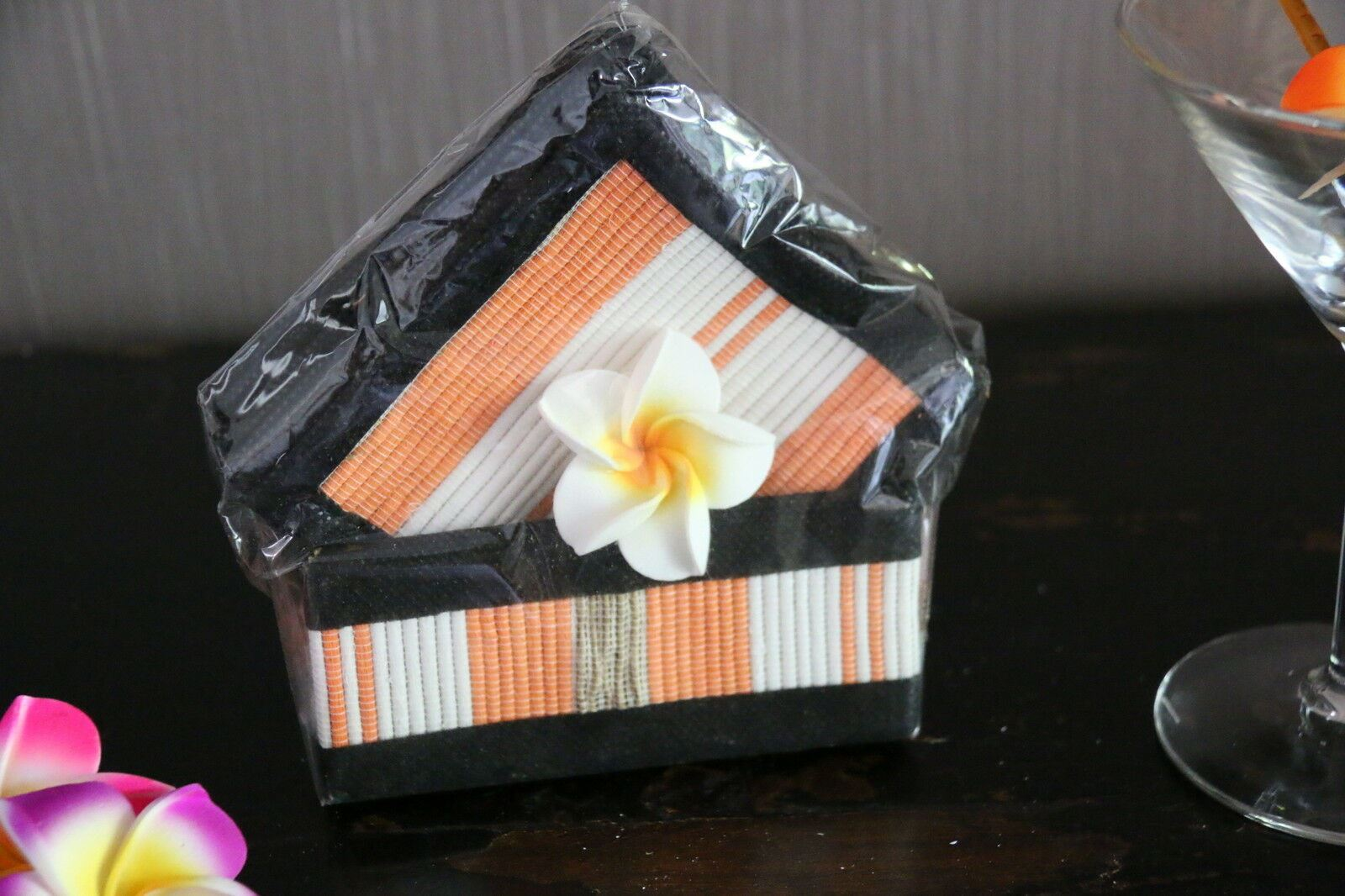 NEW Hand Made Balinese Set 10 Coasters with Holder - MANY COLOURS AVAILABLE