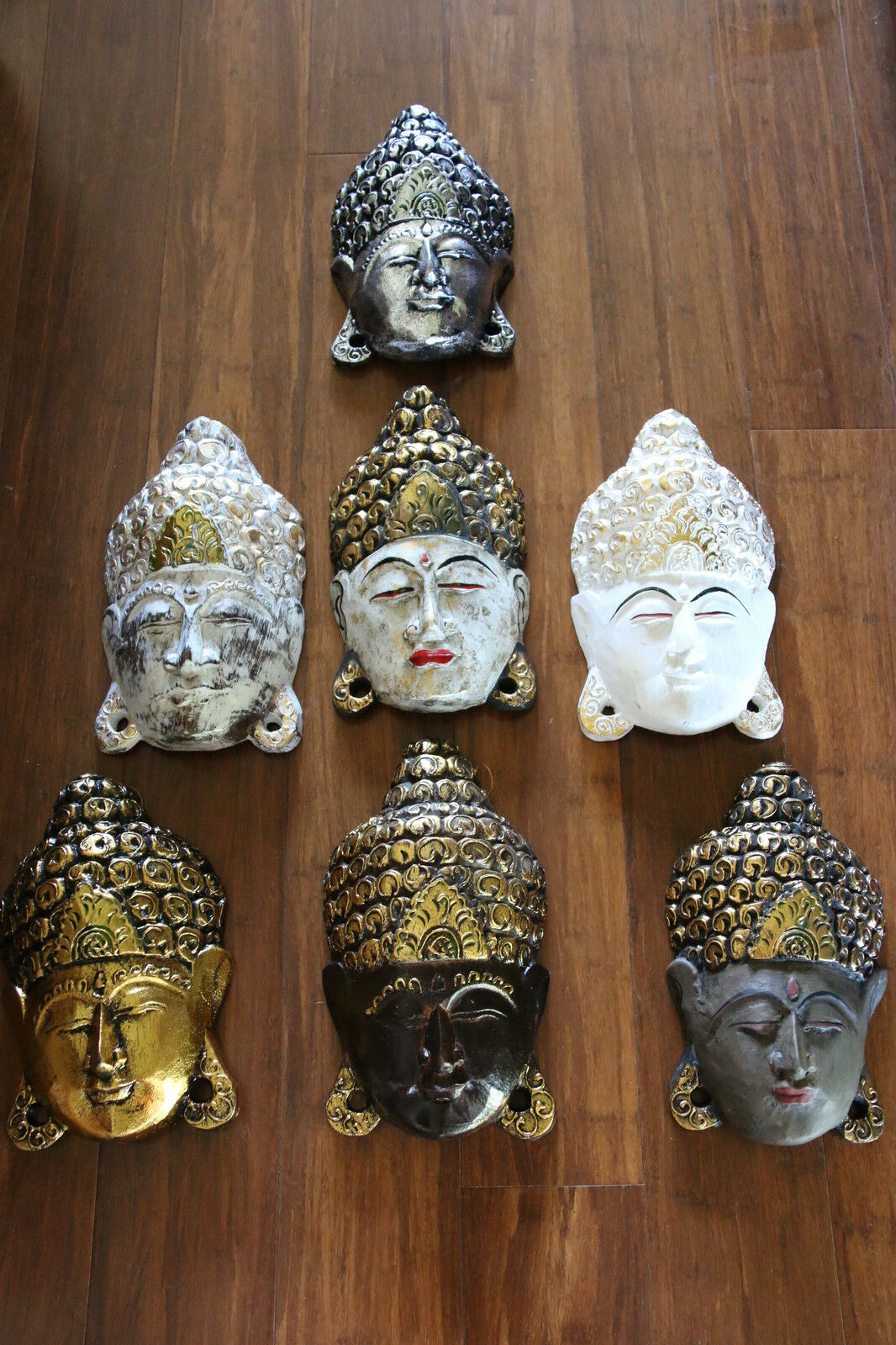 NEW Hand Carved Wooden Buddha Head Wall Decor - CHOOSE FROM MANY COLOURS!!