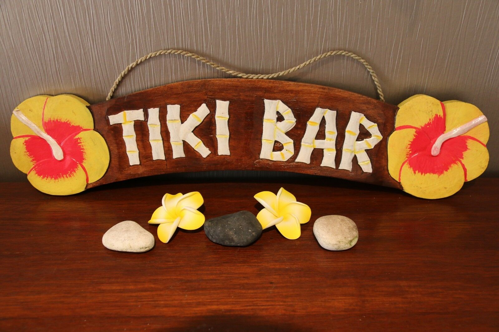 NEW Hand Crafted & Carved Tiki Bar TIKI BAR Sign - Tropical Island Bali Bar Sign