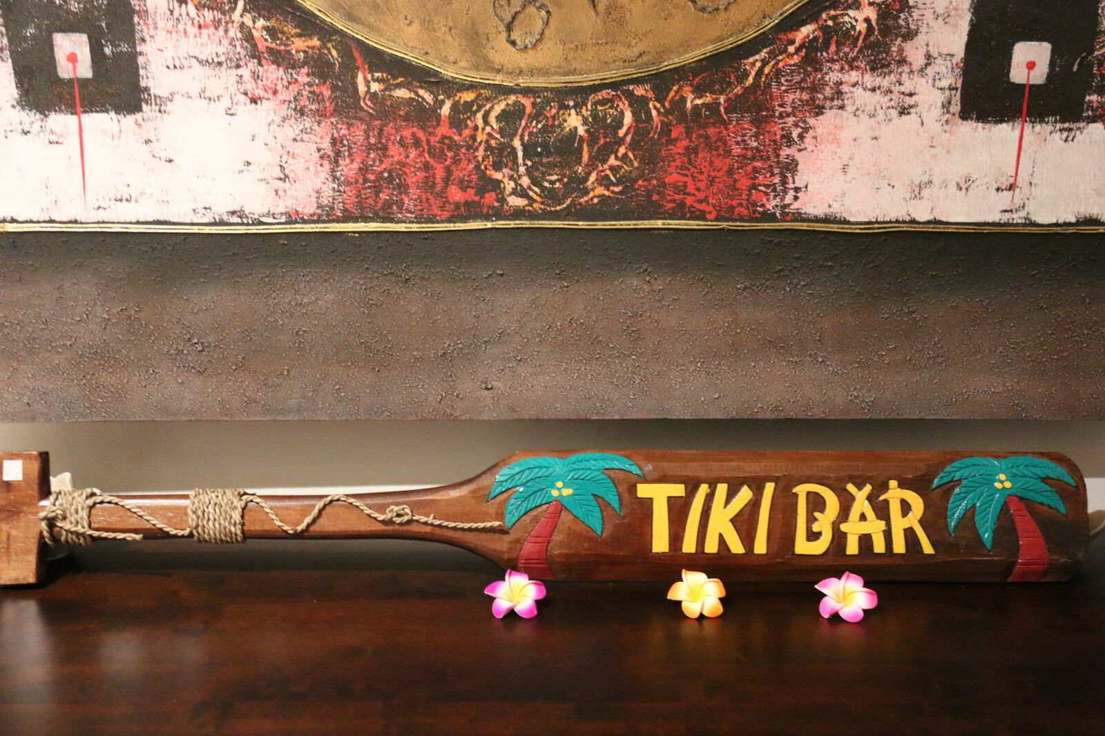 NEW Hand Crafted & Carved TIKI BAR Paddle Sign - Tropical Bali Bar Sign