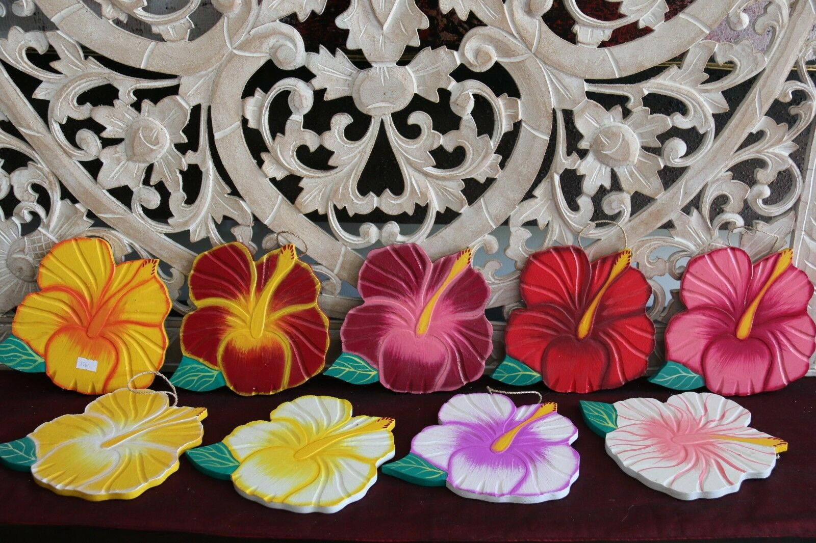 NEW Hand Crafted Balinese Wooden Hibiscus Flower - Bali Wall Art