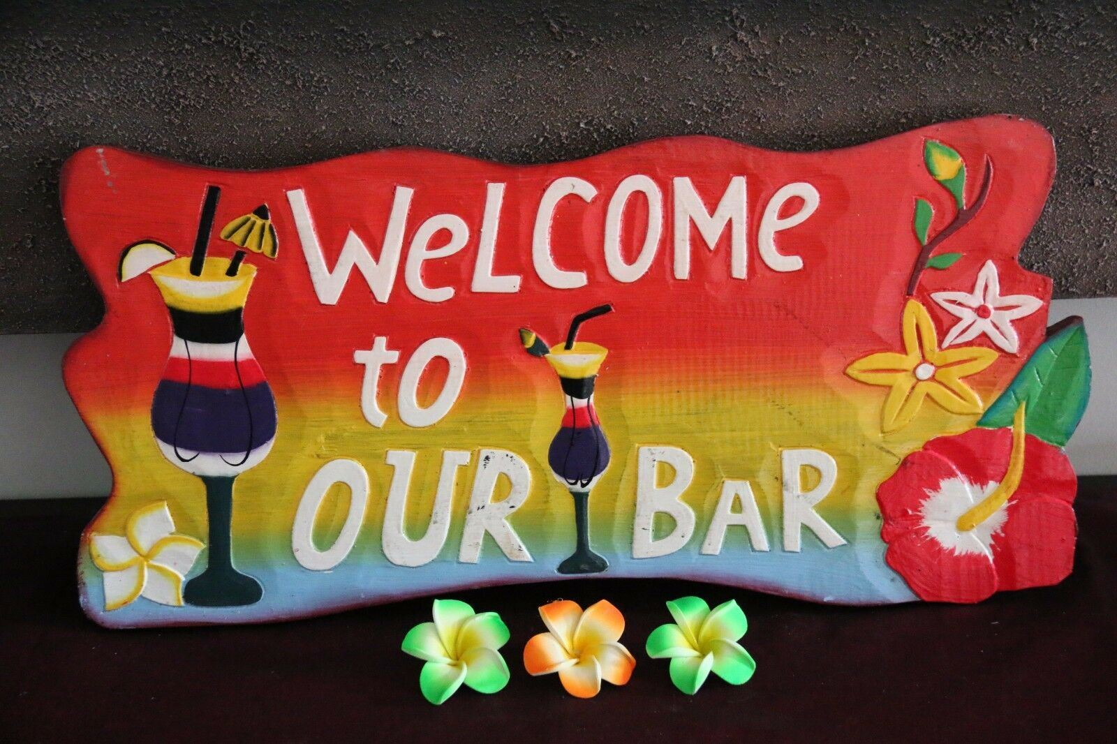 NEW Bali Hand Crafted Tiki Bar WELCOME TO OUR BAR Sign - 2 Colours available