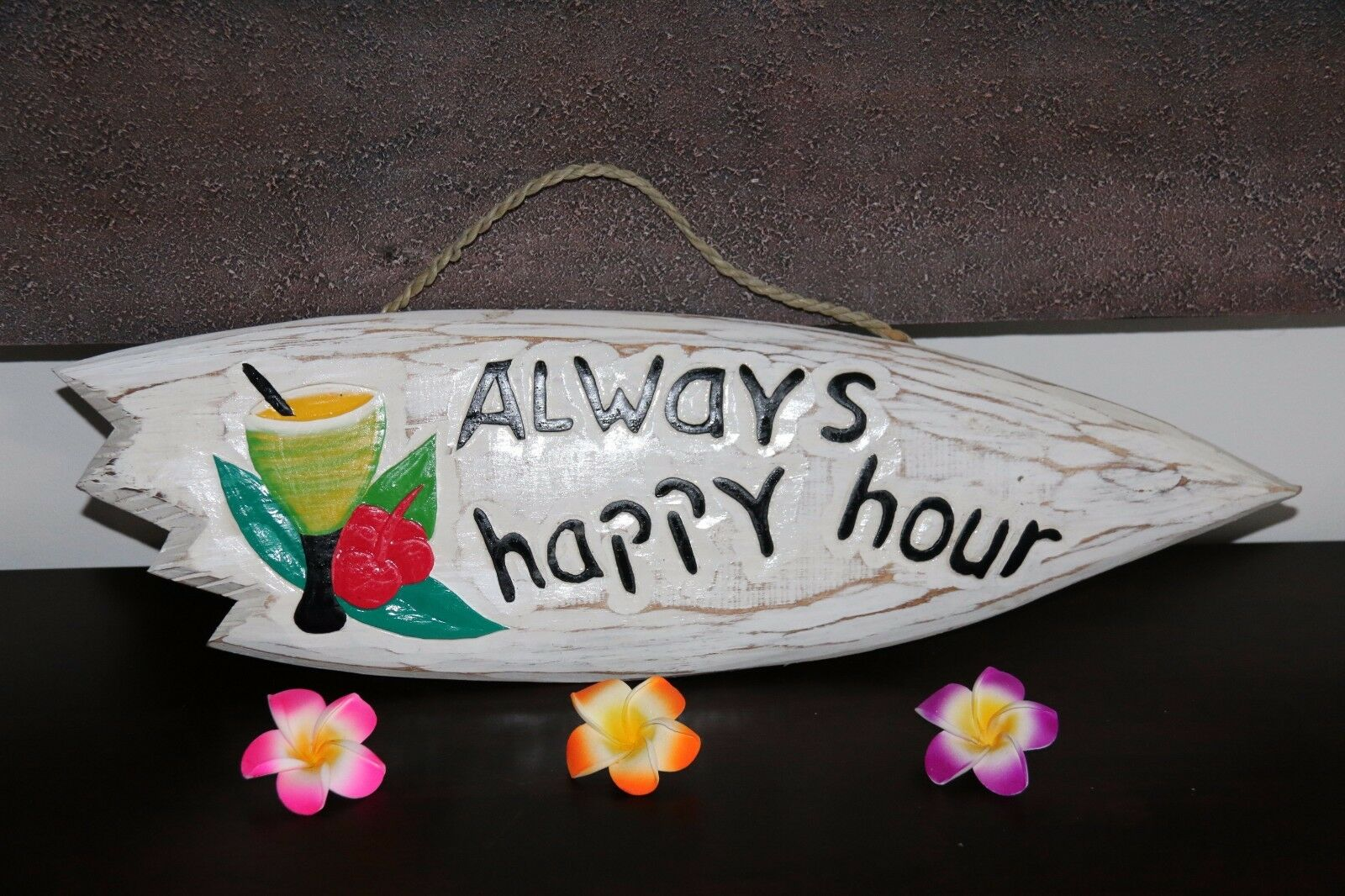 NEW Hand Crafted & Carved Tiki Bar ALWAYS HAPPY HOUR Sign - Bali Bar Sign