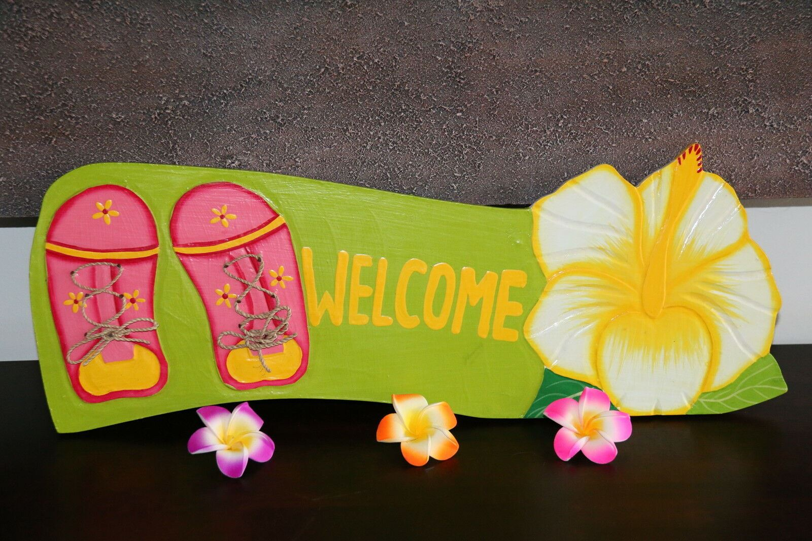NEW Bali Hand Crafted WELCOME Sign -  Many Colours - Tropical Design FREEPOST!!
