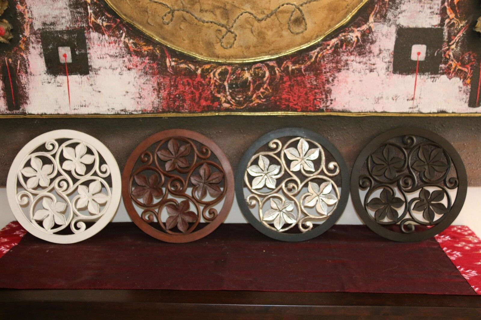 NEW Balinese Carved MDF/Wood Mandala / Tropical Wall Panels - Bali Wall Art - 4