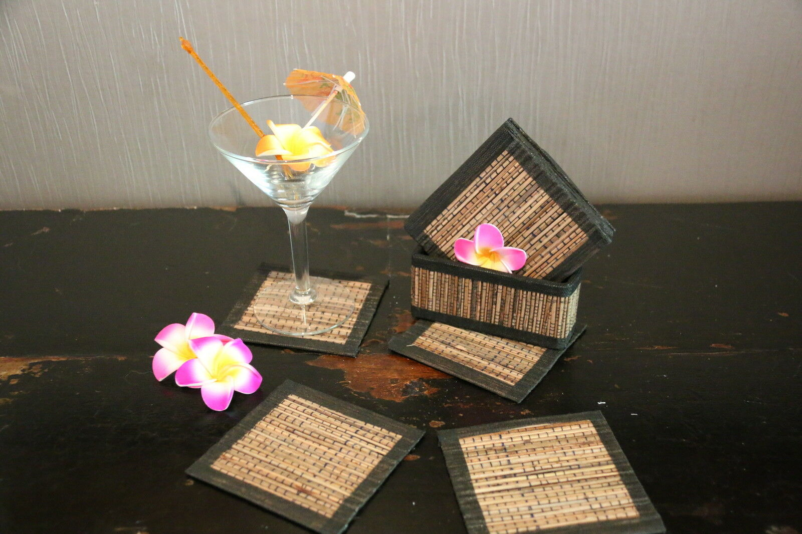 NEW Hand Made Balinese Set 10 Coasters with Holder - 3 COLOURS AVAILABLE