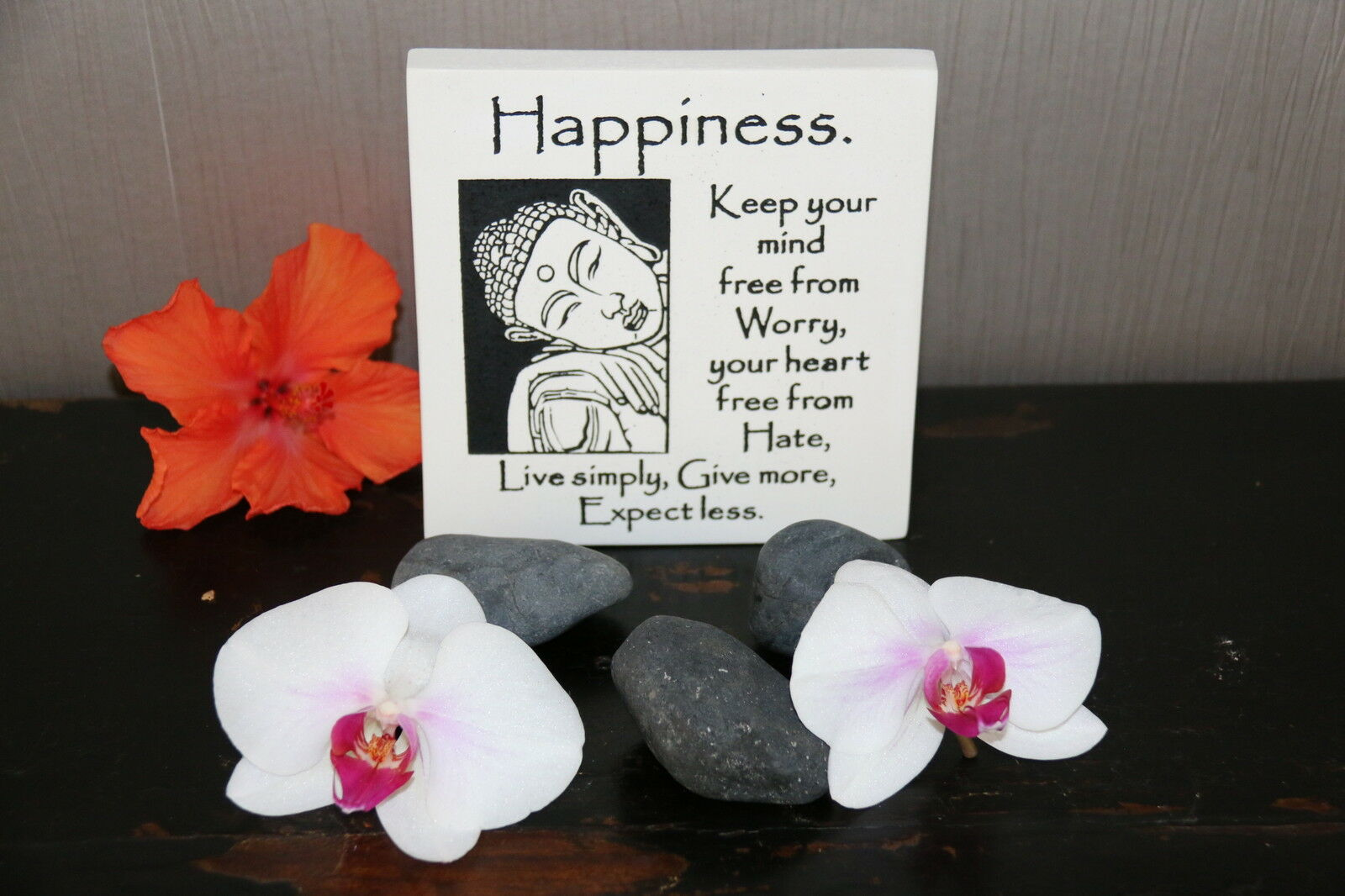 Brand New Balinese Free Standing BUDDHA HAPPINESS Affirmation Plaque