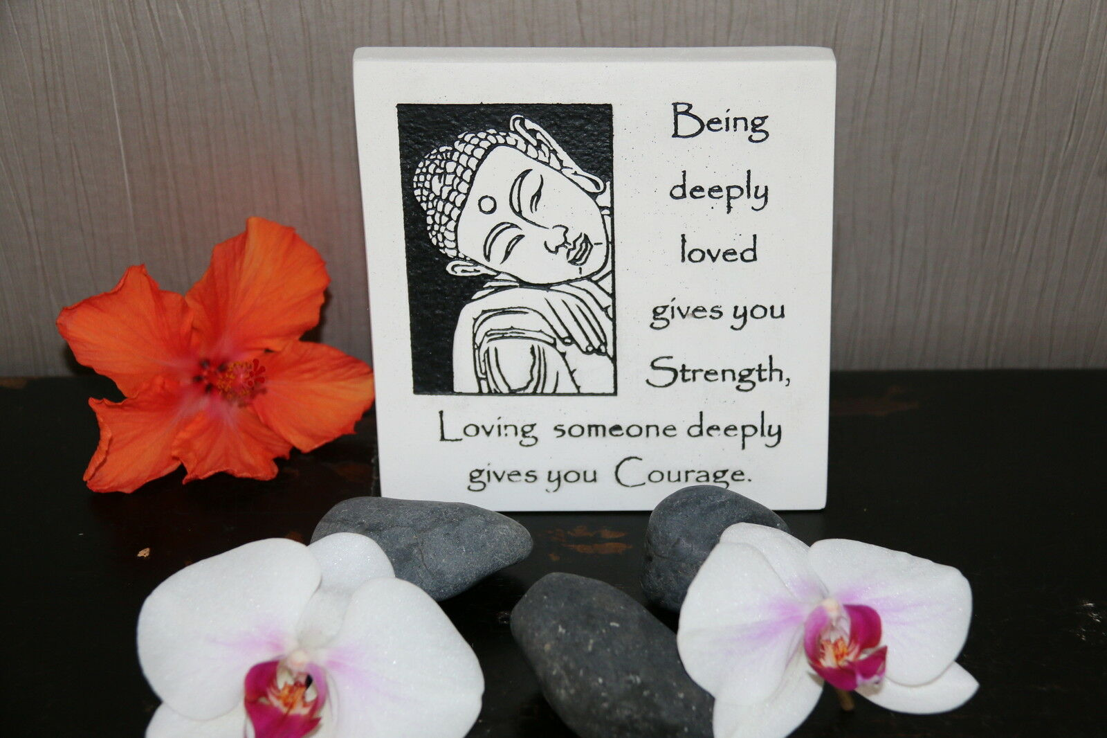 Brand New Balinese Free Standing BUDDHA COURAGE Affirmation Plaque