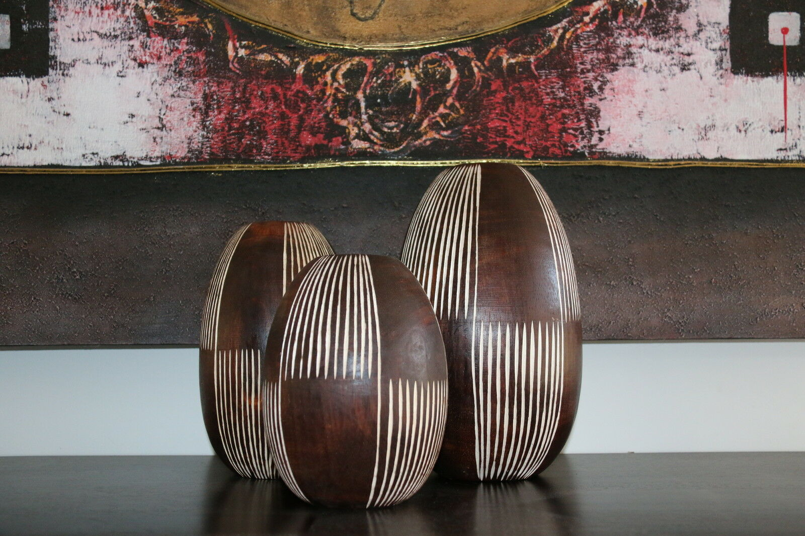 NEW Balinese Wooden Vase - Hand Crafted / Carved Bali Timber Vase - 3 SIZES